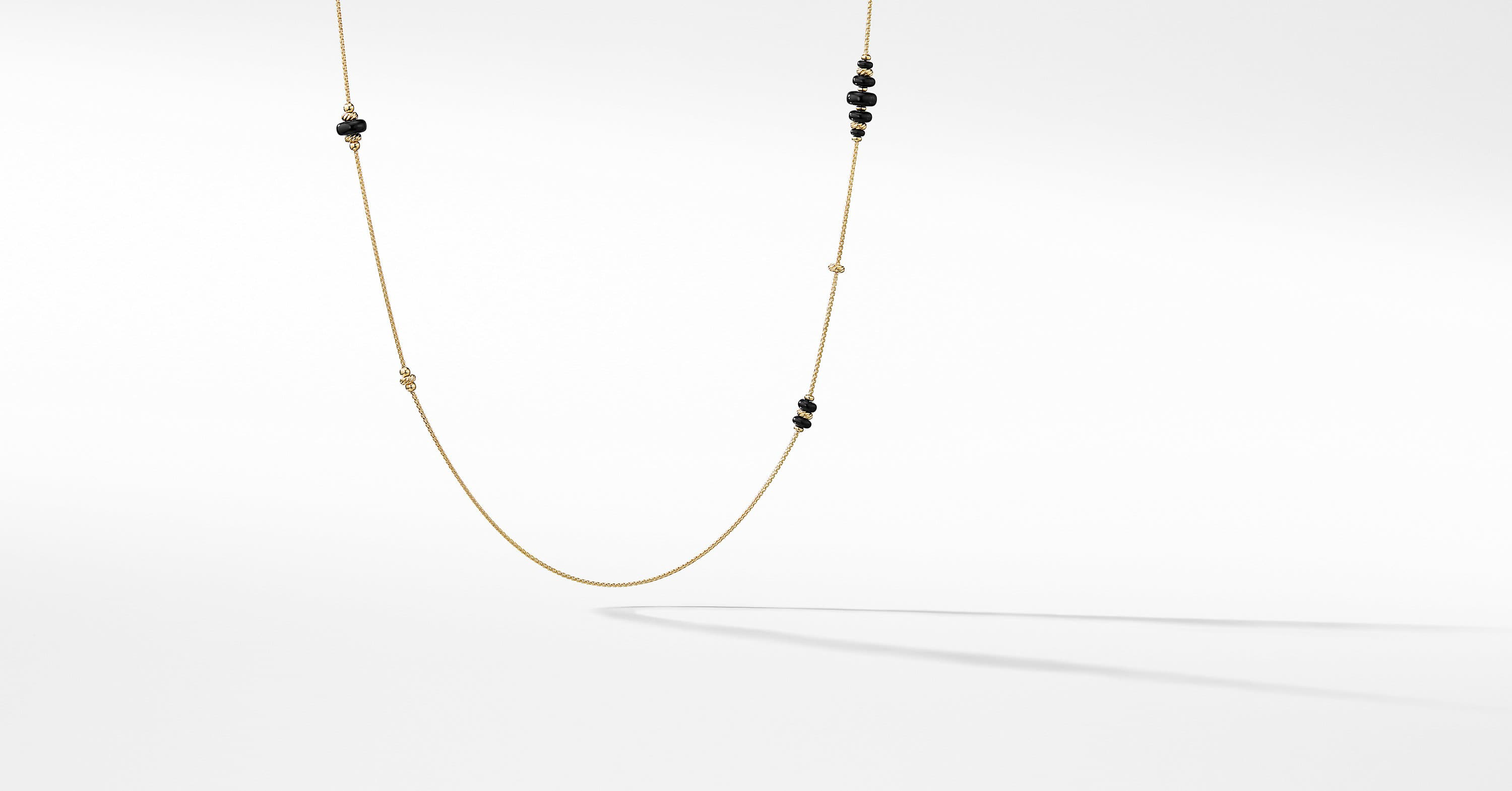 Rio Rondelle Long Station Necklace in 18K Gold