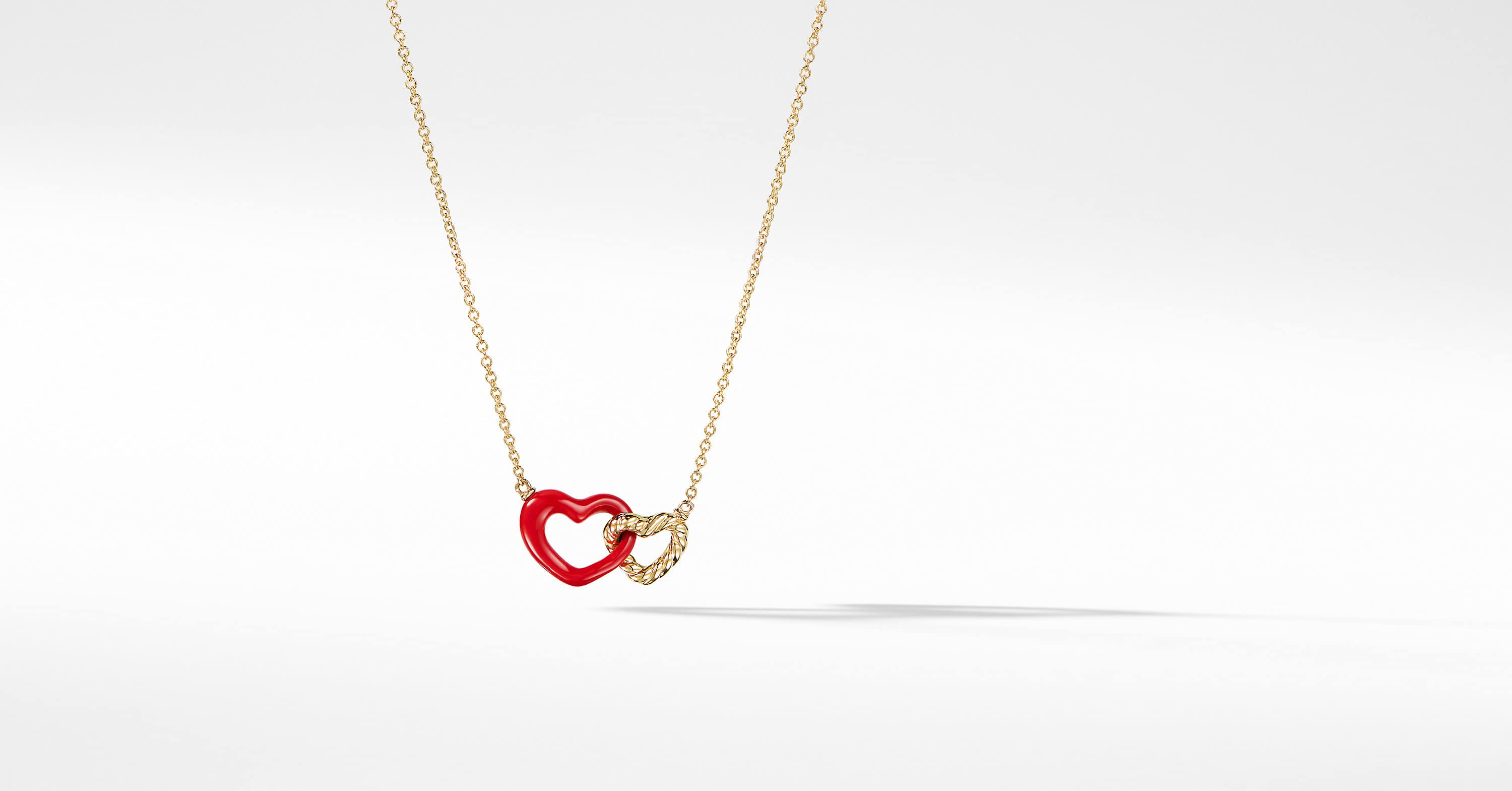 Double Heart Pendant Necklace with 18K Gold