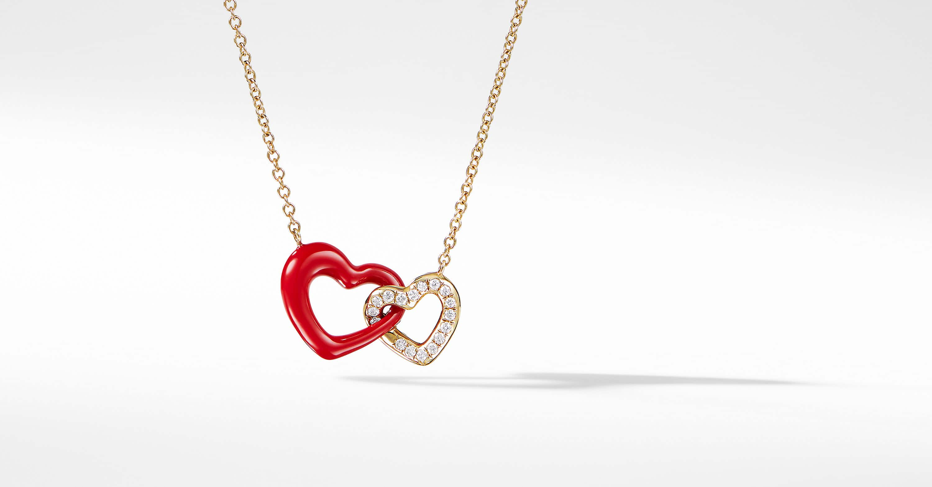 Double Heart Pendant Necklace with Diamonds and 18K Gold
