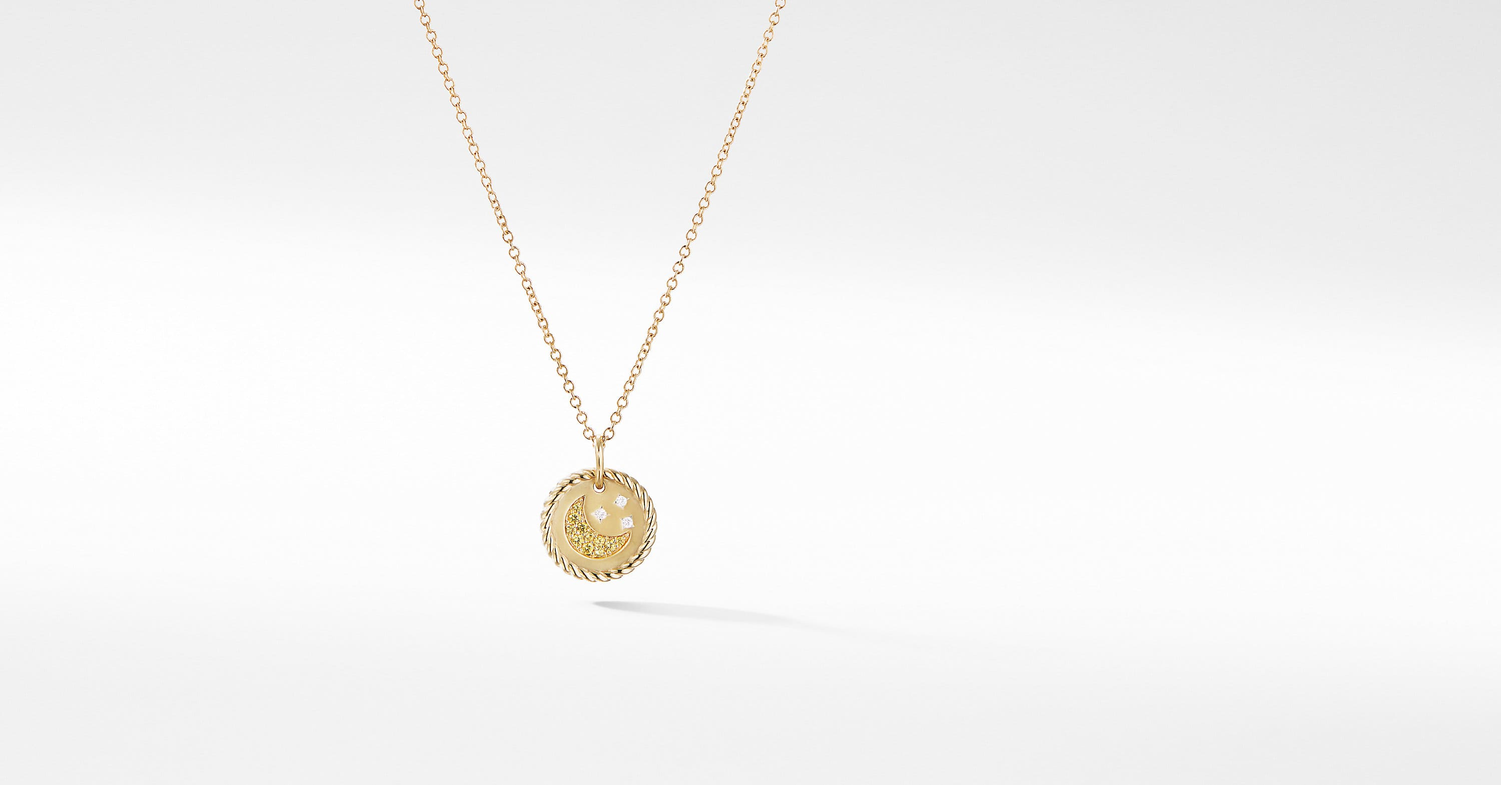 Cable Collectibles Moon and Stars Necklace with Diamonds in 18K Gold