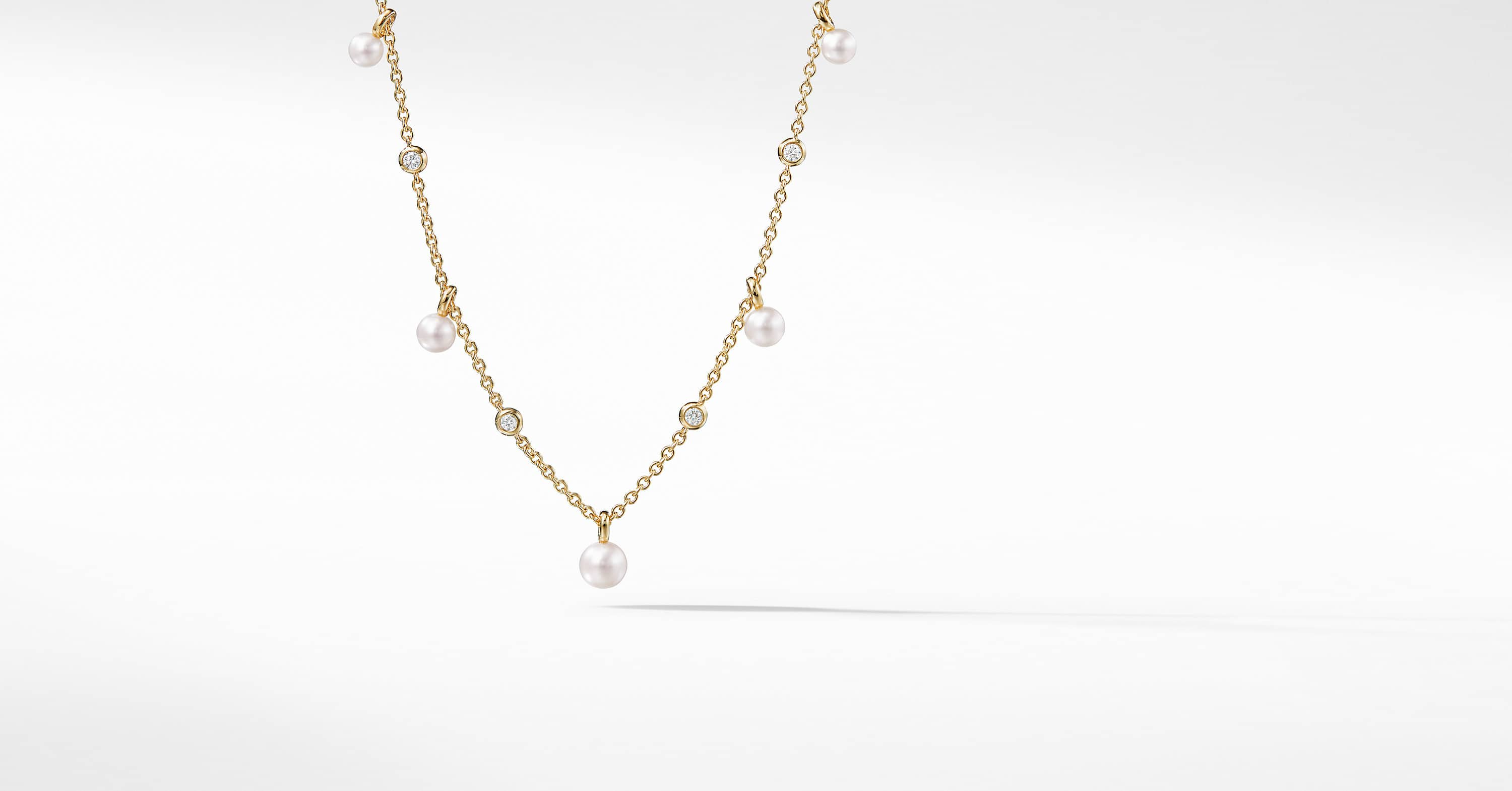 Petite Perle Fringe Necklace with Pearls and Diamonds in 18K Gold