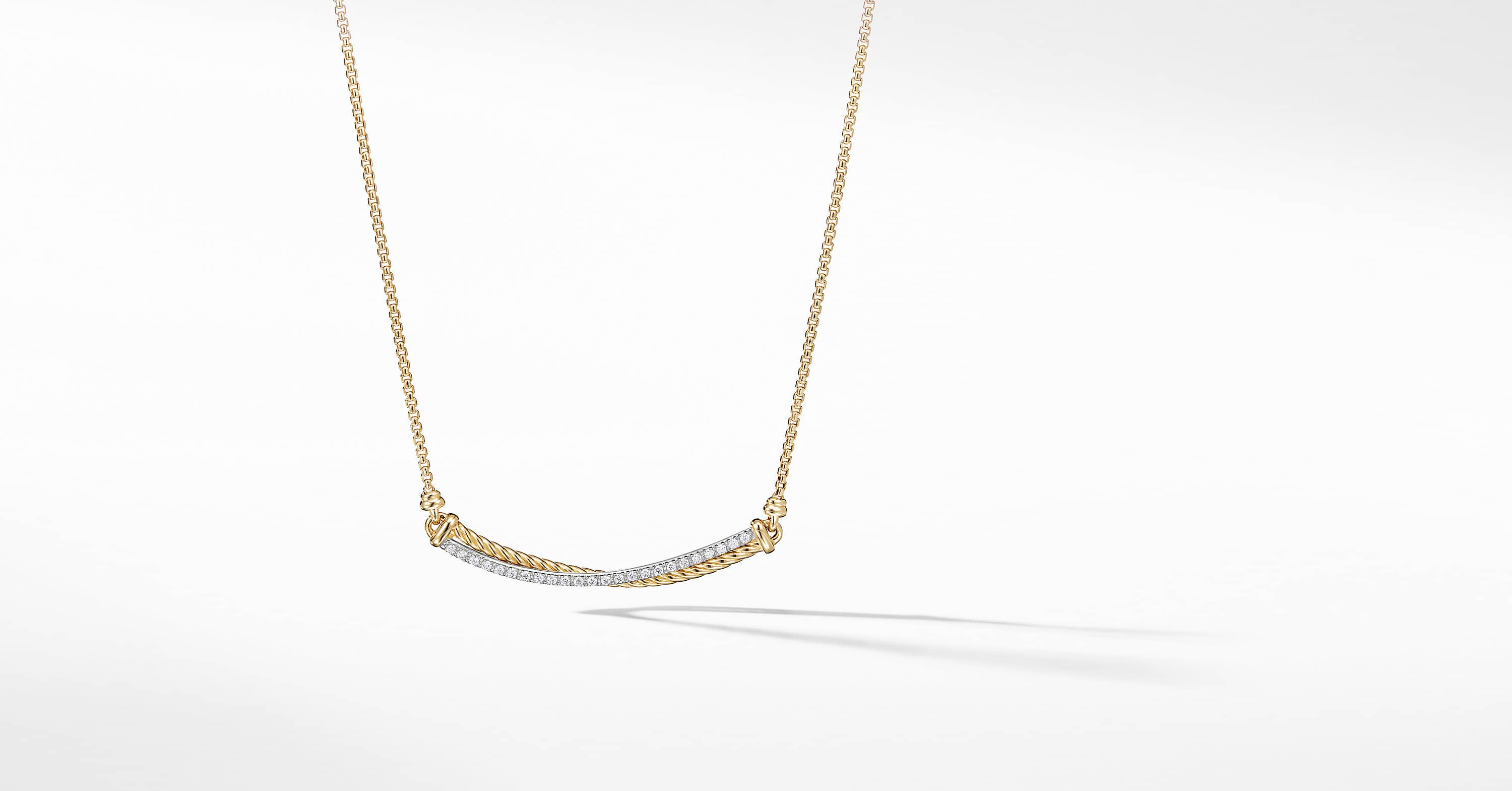 The Crossover Collection Bar Necklace in 18K Yellow Gold with Diamonds