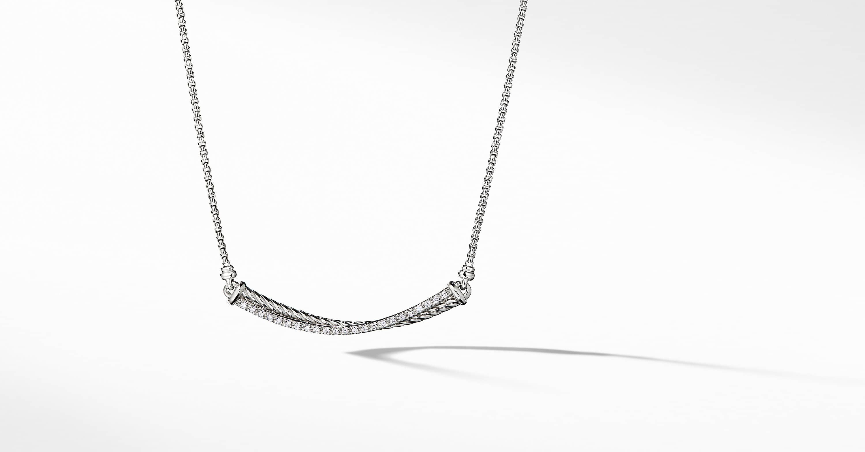 The Crossover Collection Bar Necklace with Diamonds