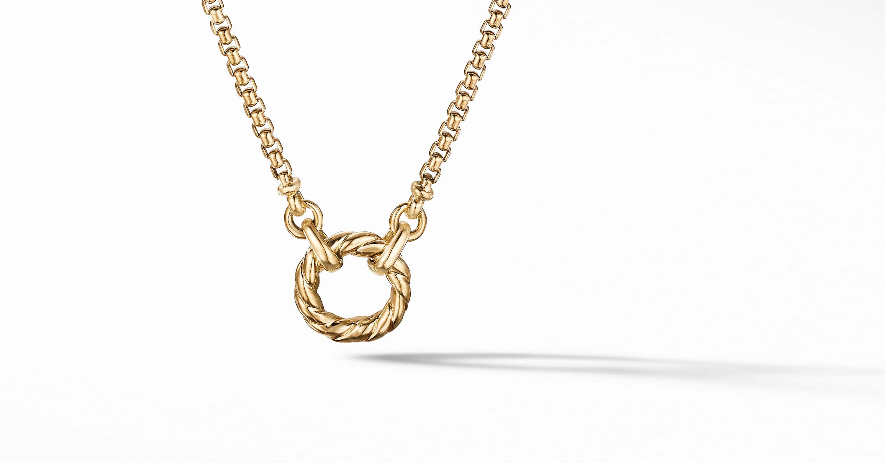 Amulet Vehicle Box Chain Slider Necklace in 18K Yellow Gold