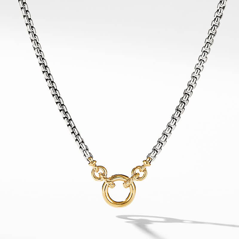 Smooth Amulet Vehicle Box Chain Necklace with 18K Yellow Gold