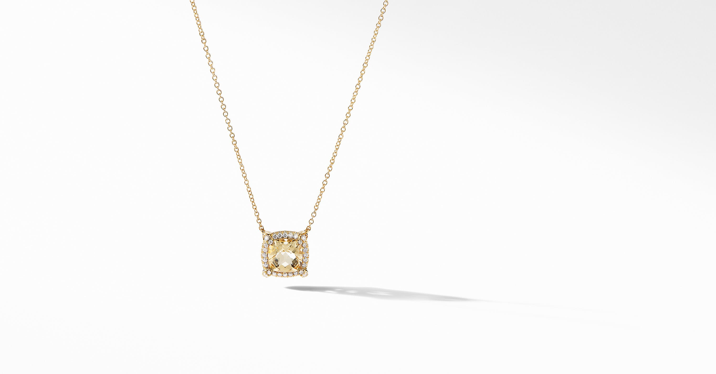 Petite Chatelaine Pavé Bezel Pendant Necklace in 18K Yellow Gold, 7mm