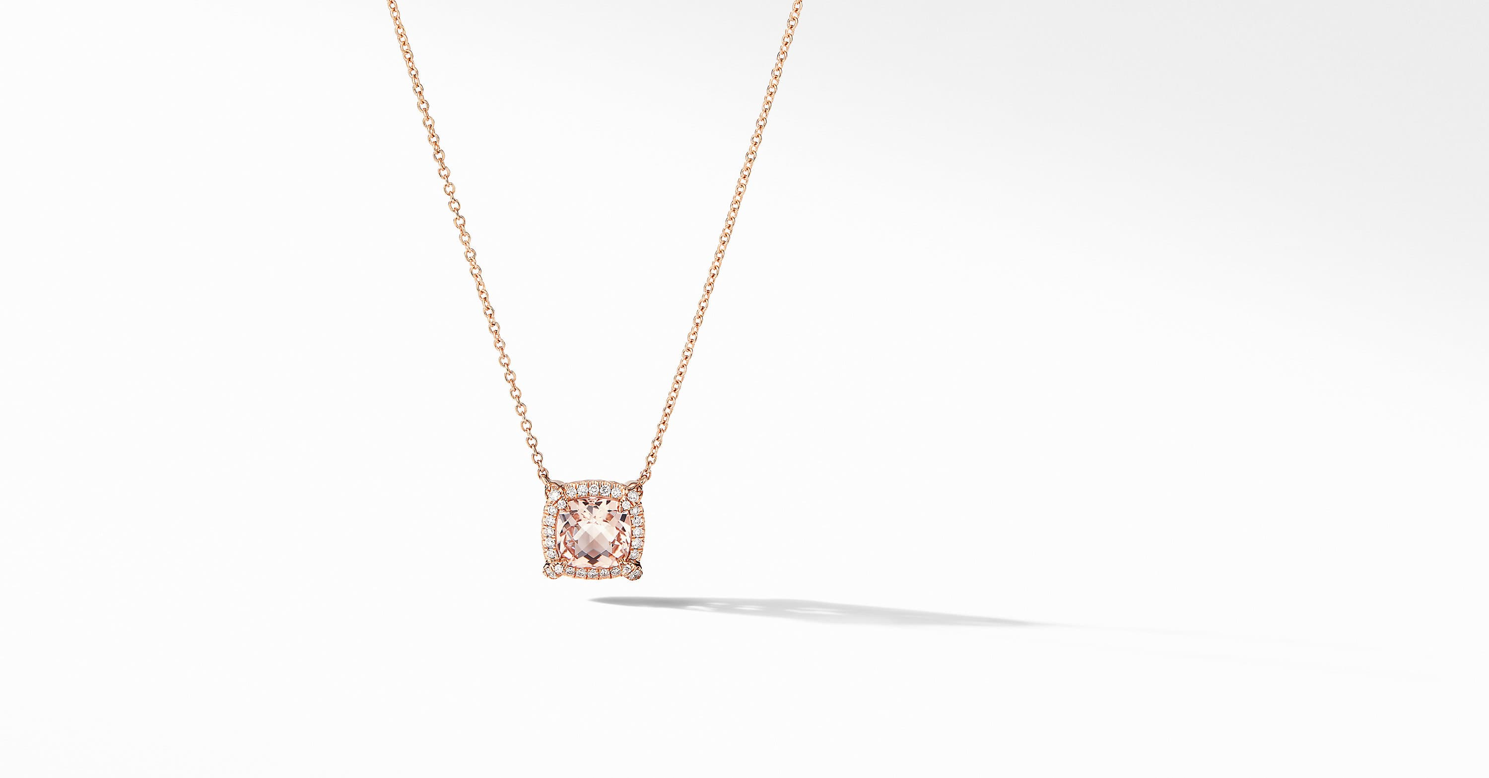 Petite Chatelaine Pavé Bezel Pendant Necklace in 18K Rose Gold, 7mm