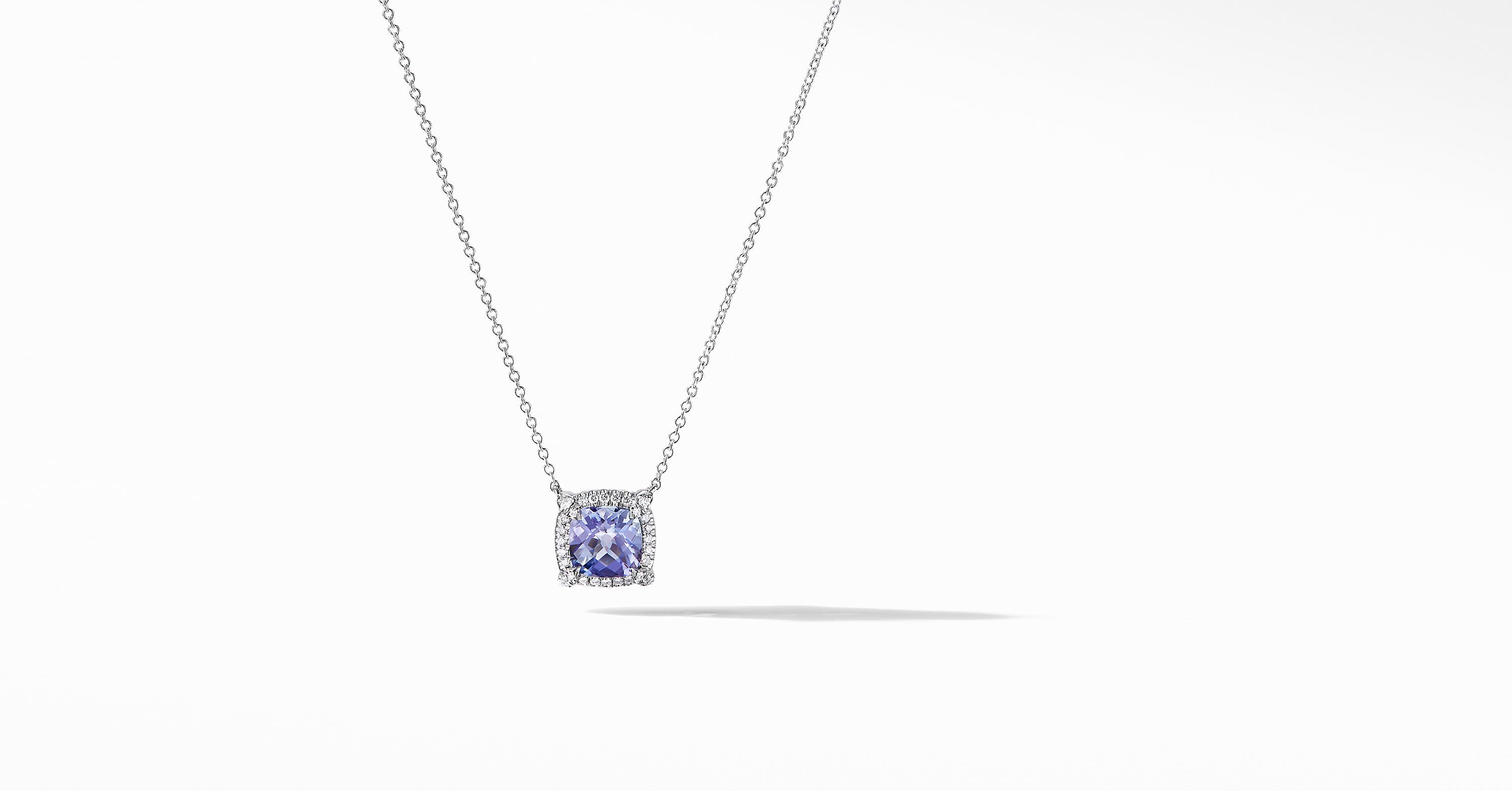 Petite Chatelaine Pavé Bezel Pendant Necklace in 18K White Gold, 7mm
