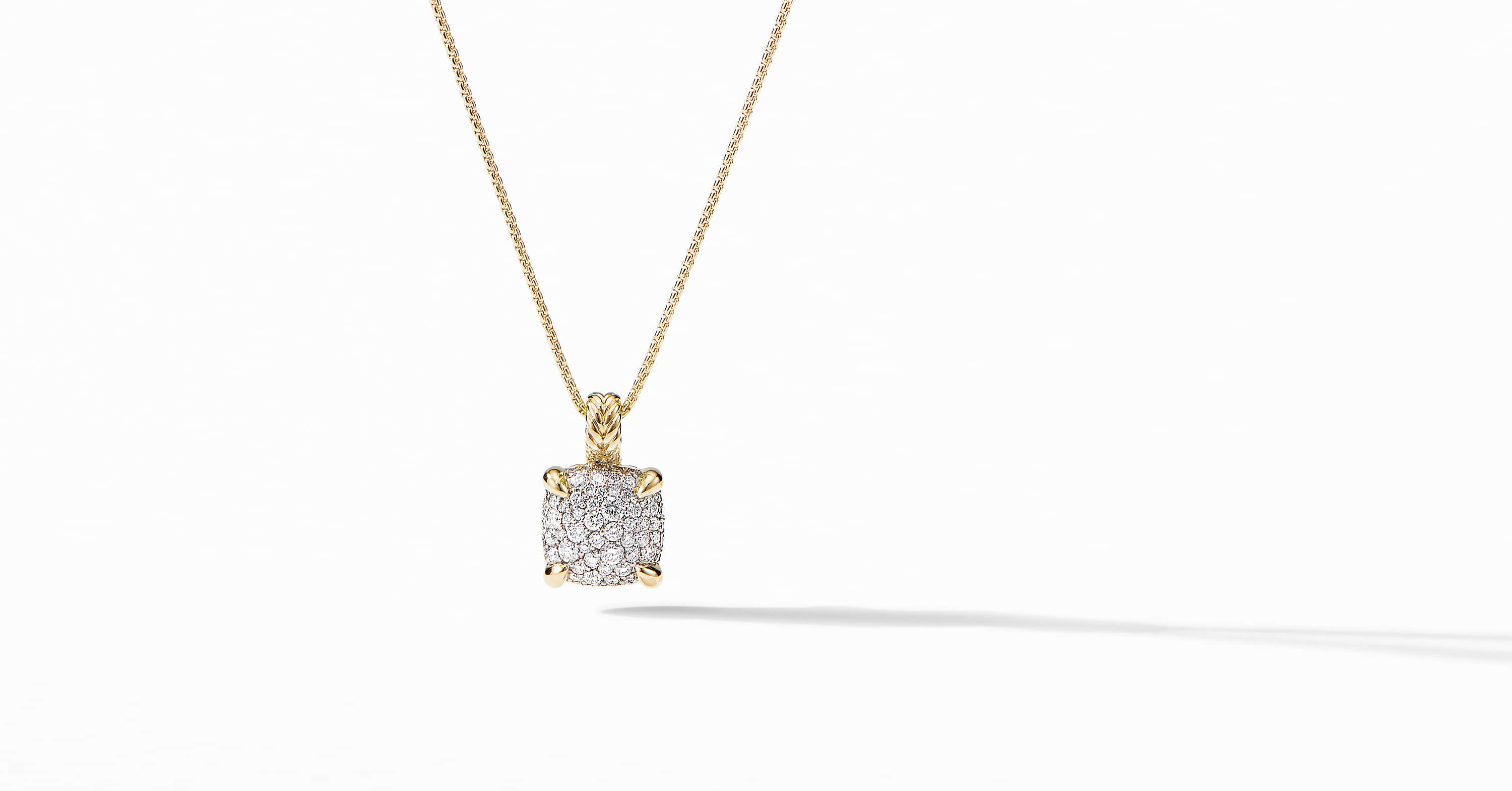 Chatelaine Pendant Necklace in 18K Yellow Gold with Full Pavé, 11mm