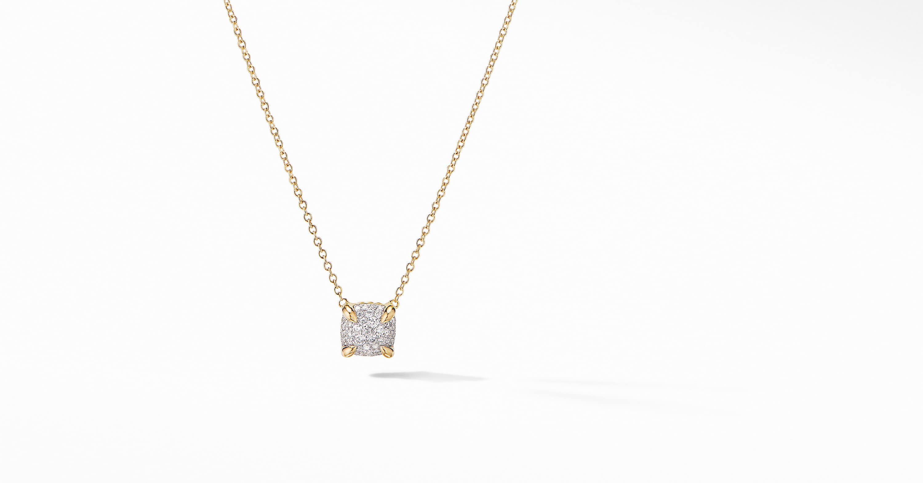 Chatelaine Pendant Necklace in 18K Yellow Gold with Full Pavé, 7mm