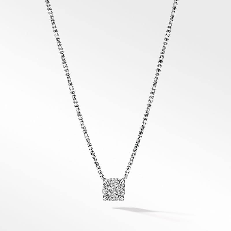 Petite Chatelaine Pendant Necklace with Full Pavé, 7mm