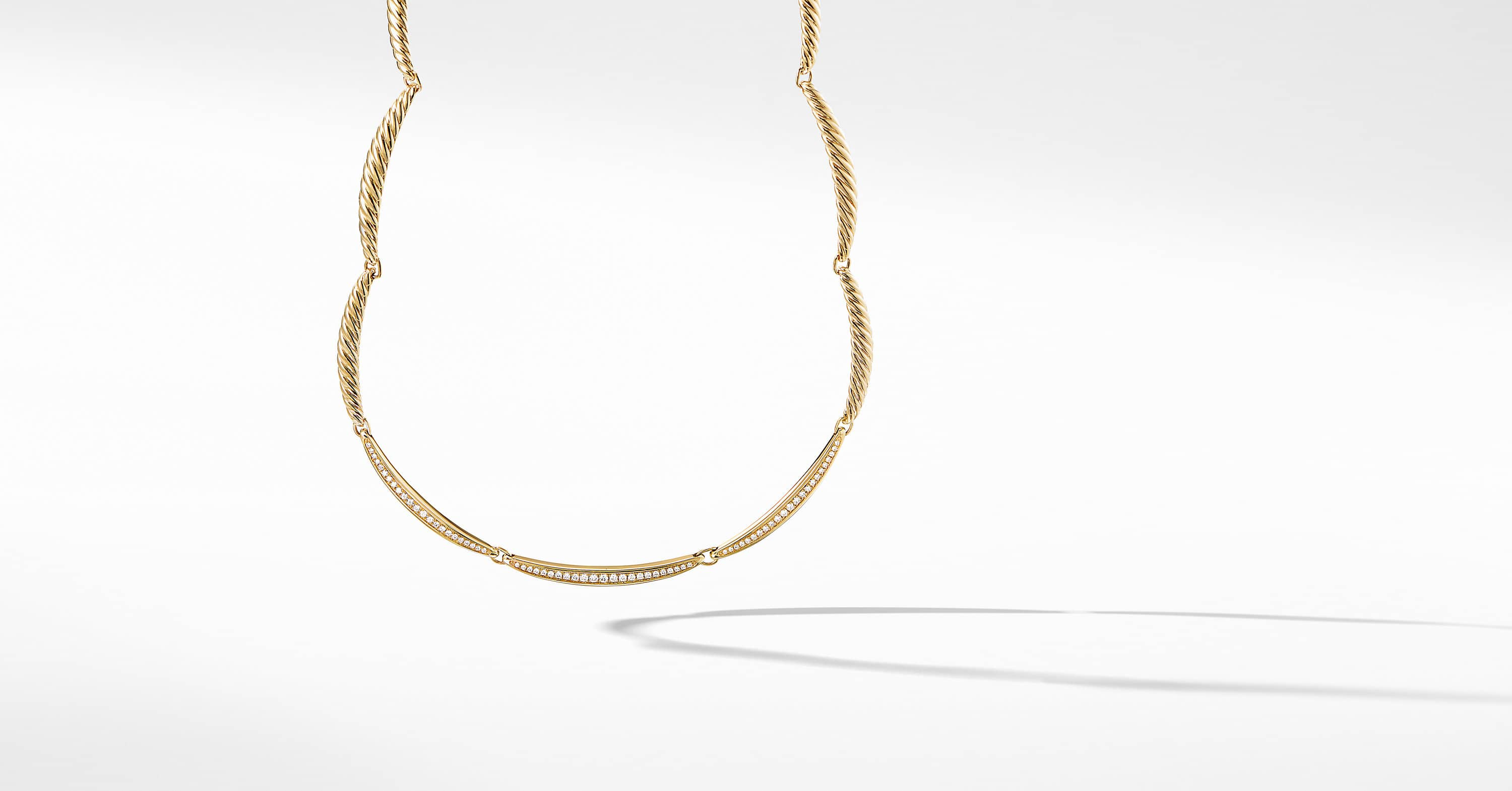 Tides Single Row Necklace in 18K Yellow Gold with Diamonds