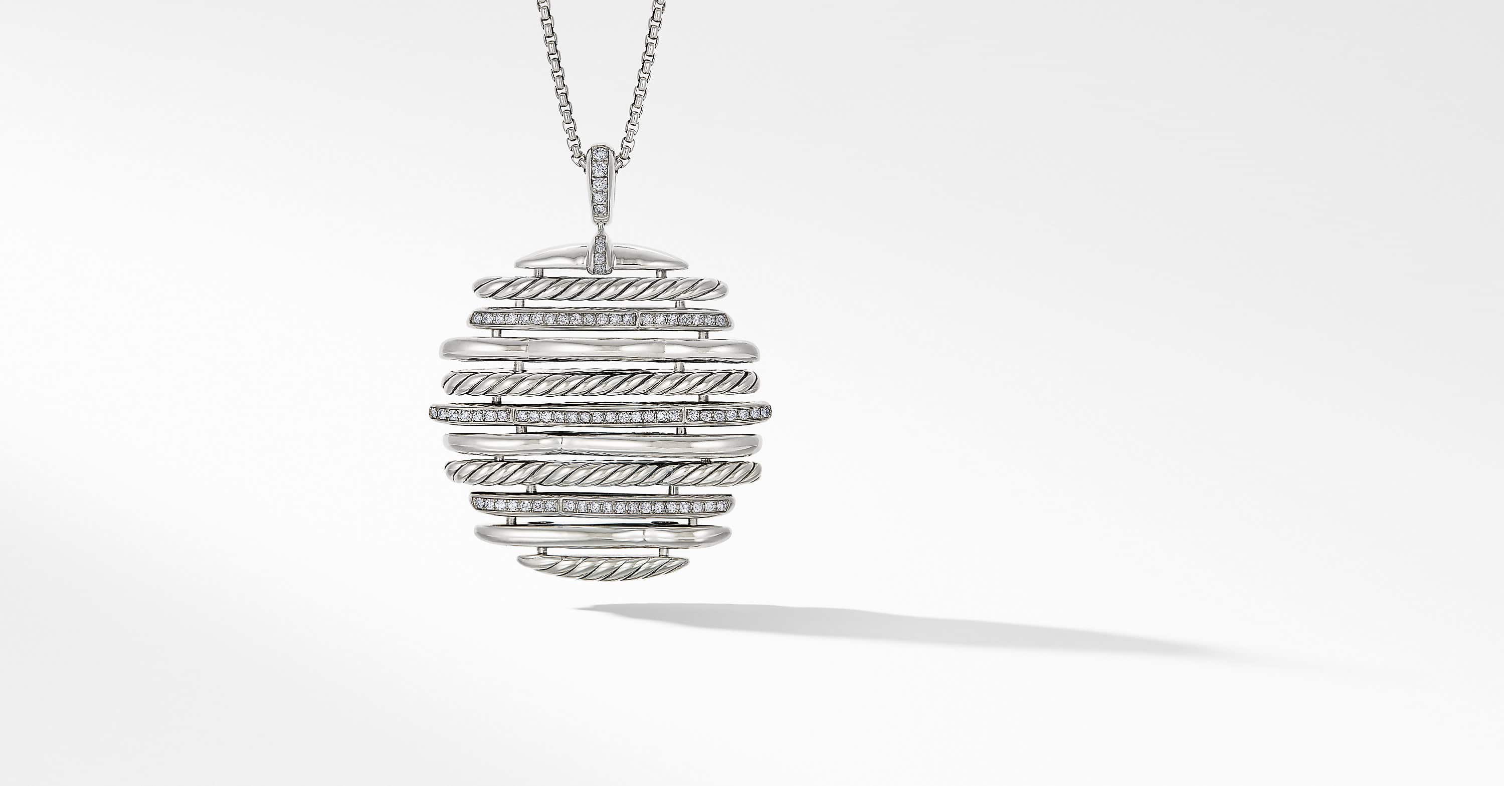 Tides Pendant Necklace with Diamonds, 45mm