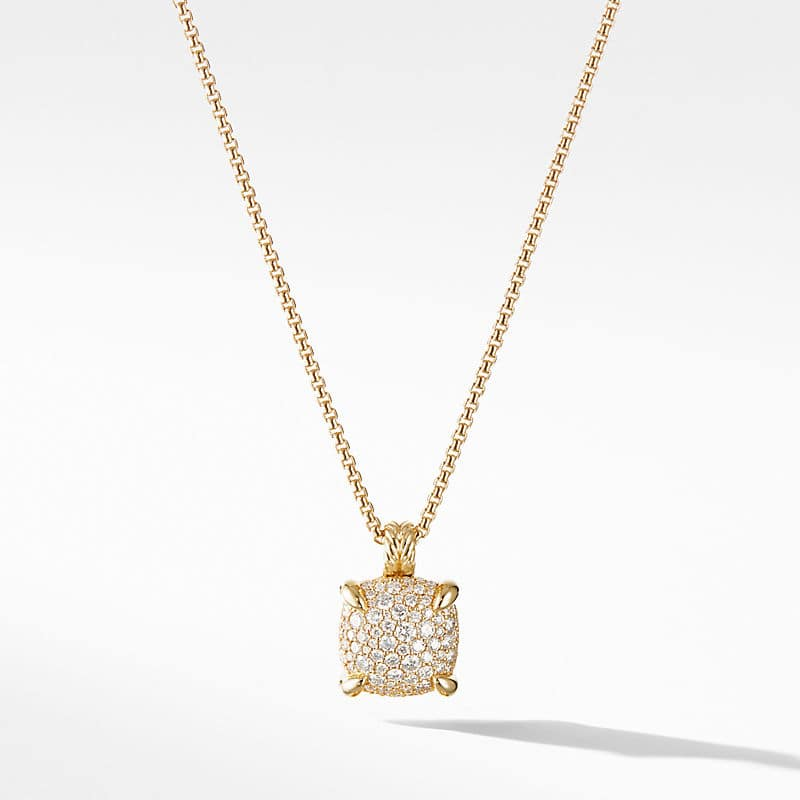 Chatelaine Pendant Necklace with Diamonds in 18K Yellow Gold, 14mm
