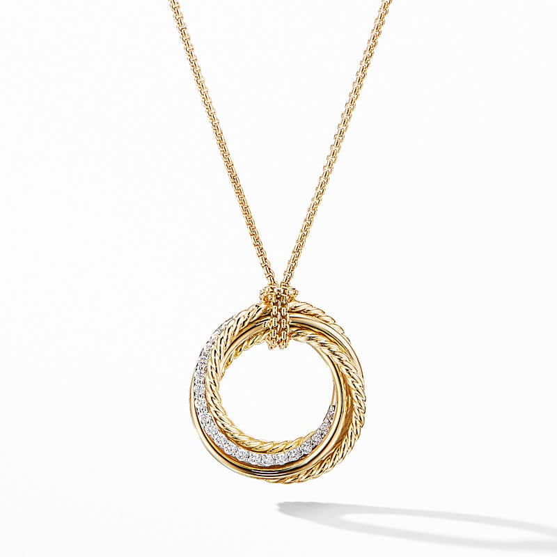 Crossover Pendant Necklace in 18K Yellow Gold with Diamonds, 21mm