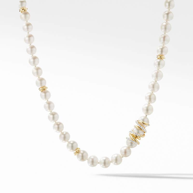 Helena Pearl Strand Necklace in 18K Yellow with Diamonds