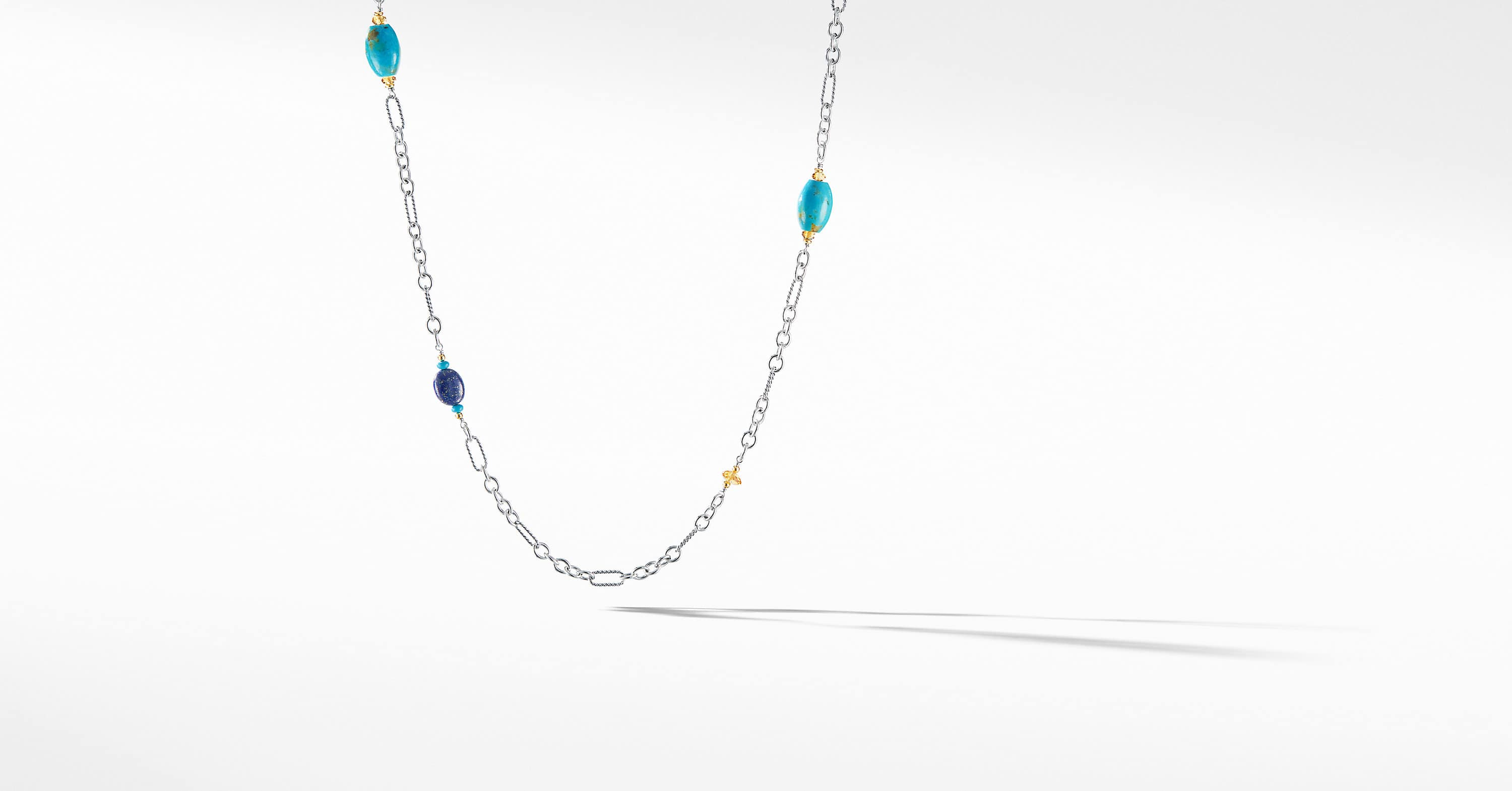 Signature Bead and Chain Necklace with 18K Yellow Gold