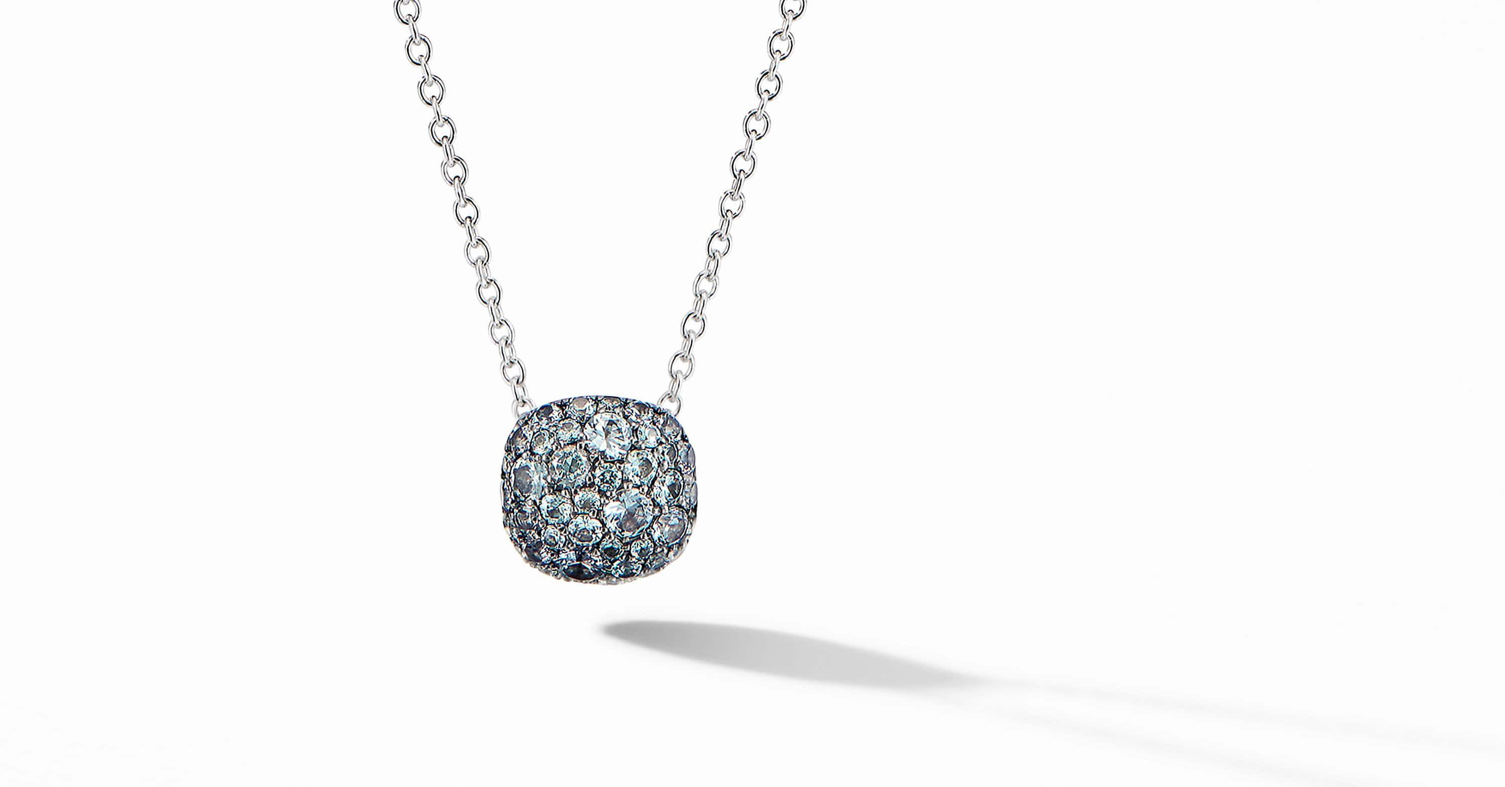 Cushion Stud Pendant Necklace in 18K White Gold