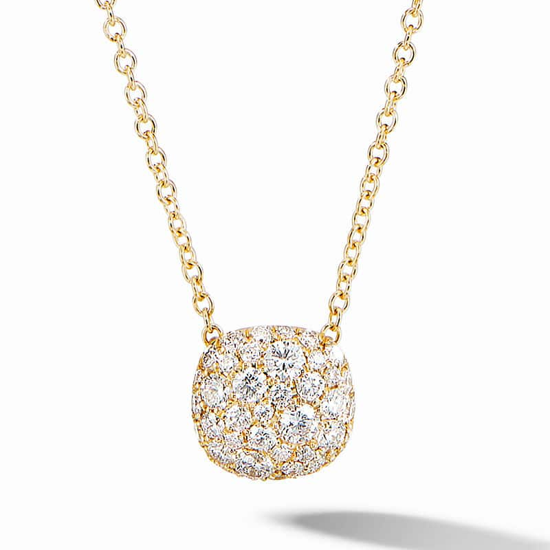 Cushion Stud Pendant Necklace in 18K Yellow Gold with Pavé