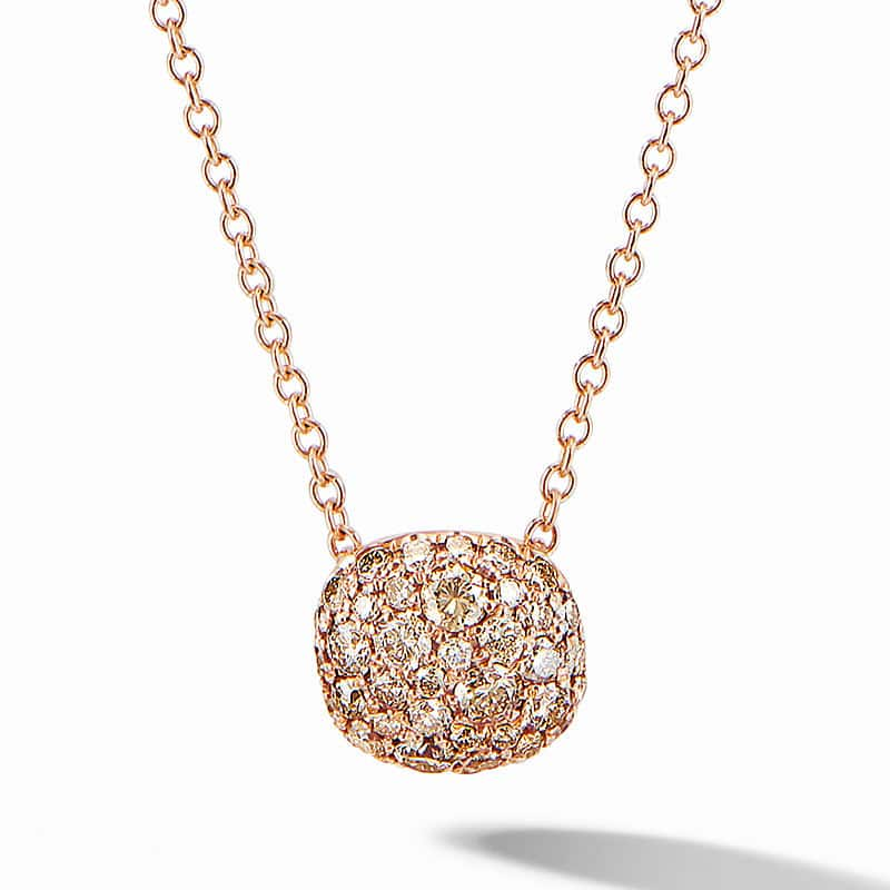 Cushion Stud Pendant Necklace in 18K Rose Gold with Pavé