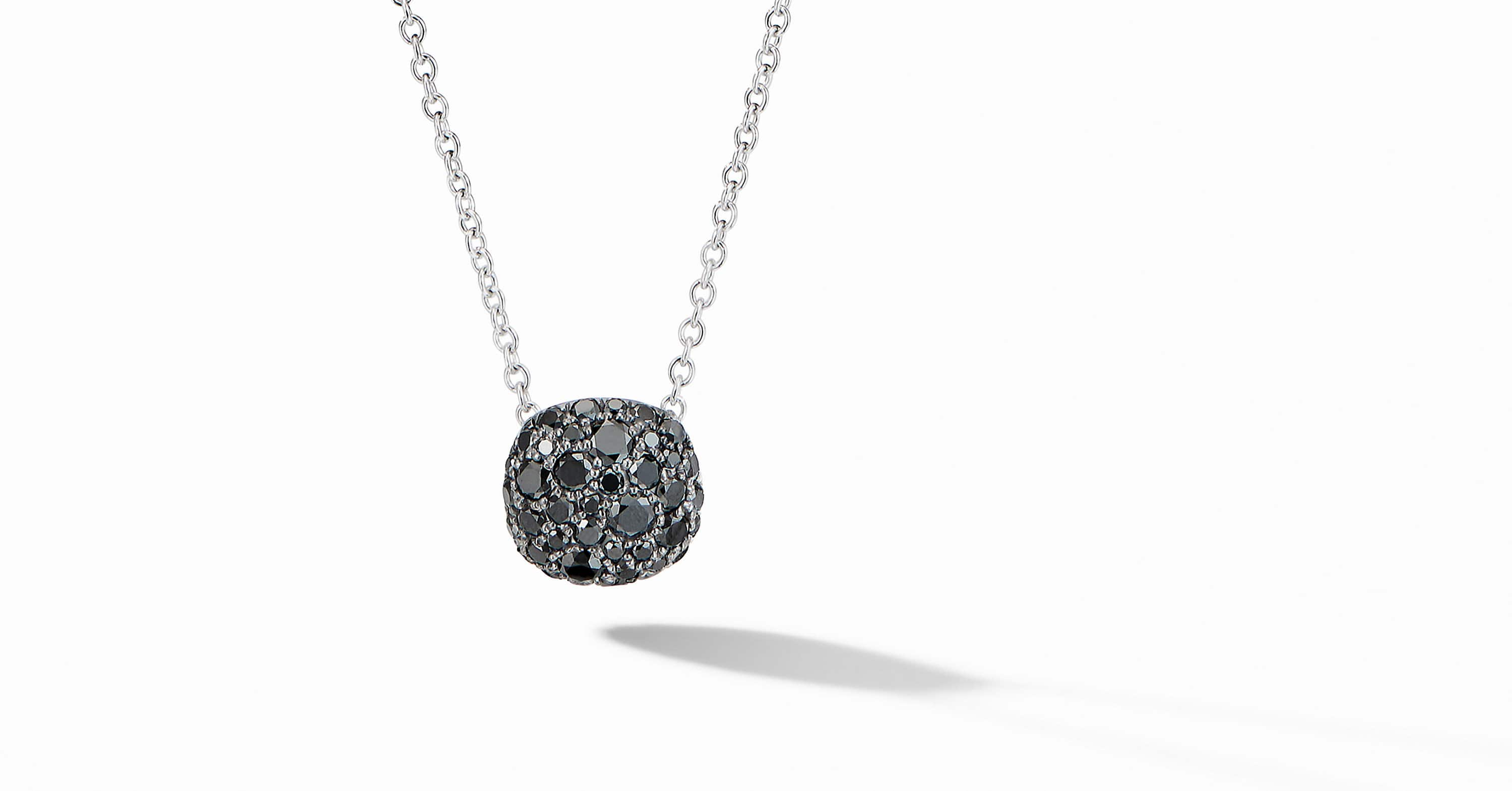Cushion Stud Pendant Necklace in 18K White Gold with Pavé