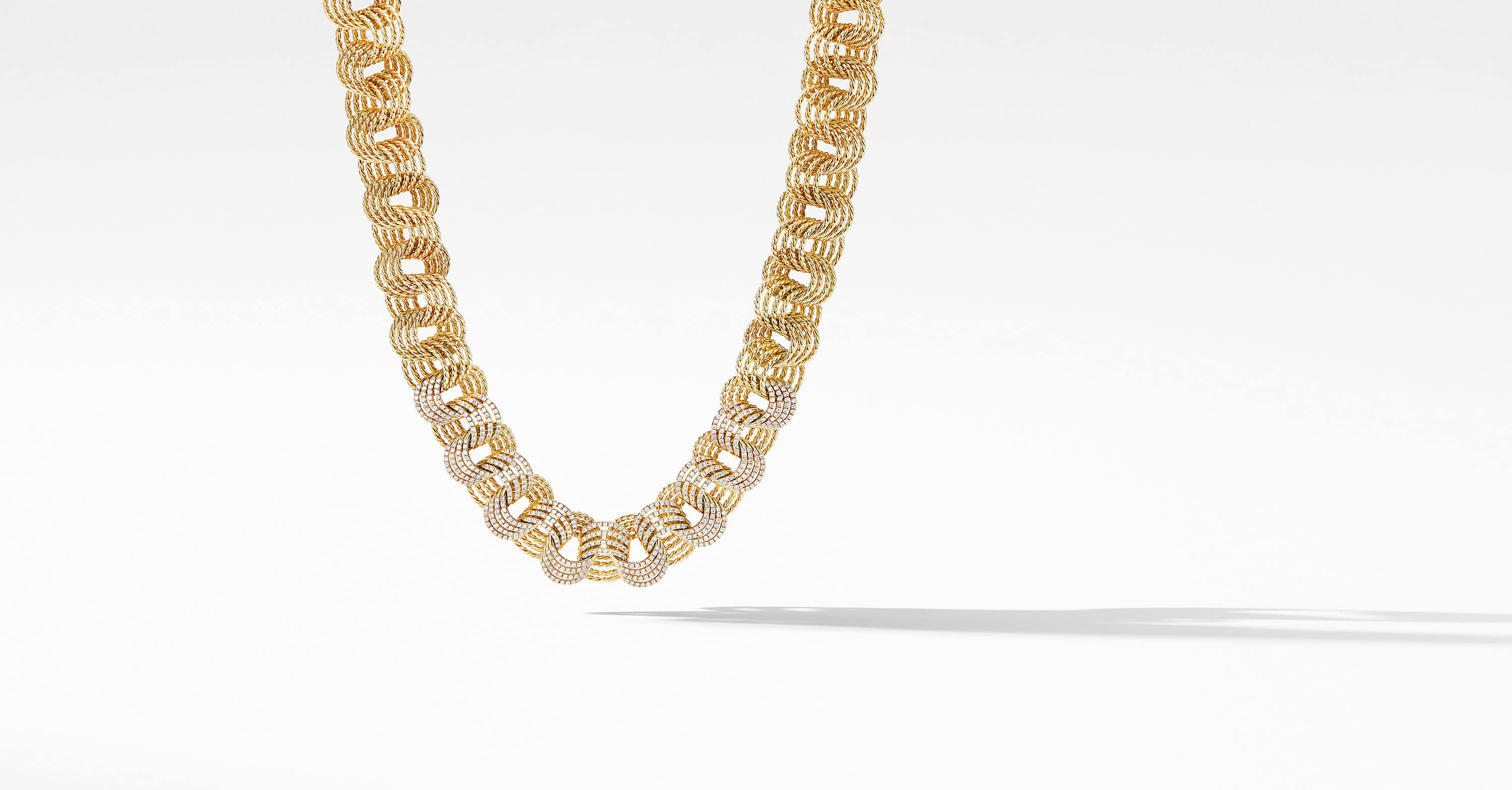 DY Origami Small Linked Necklace in 18K Yellow Gold with Diamonds