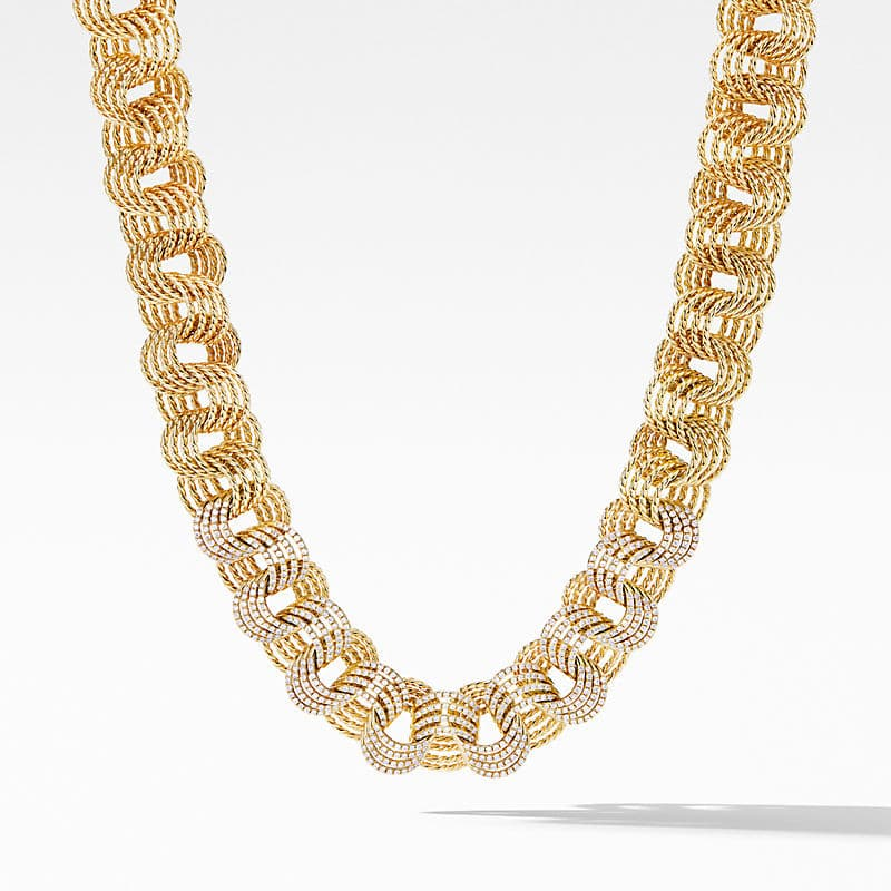 DY Origami Linked Necklace in 18K Yellow Gold with Diamonds
