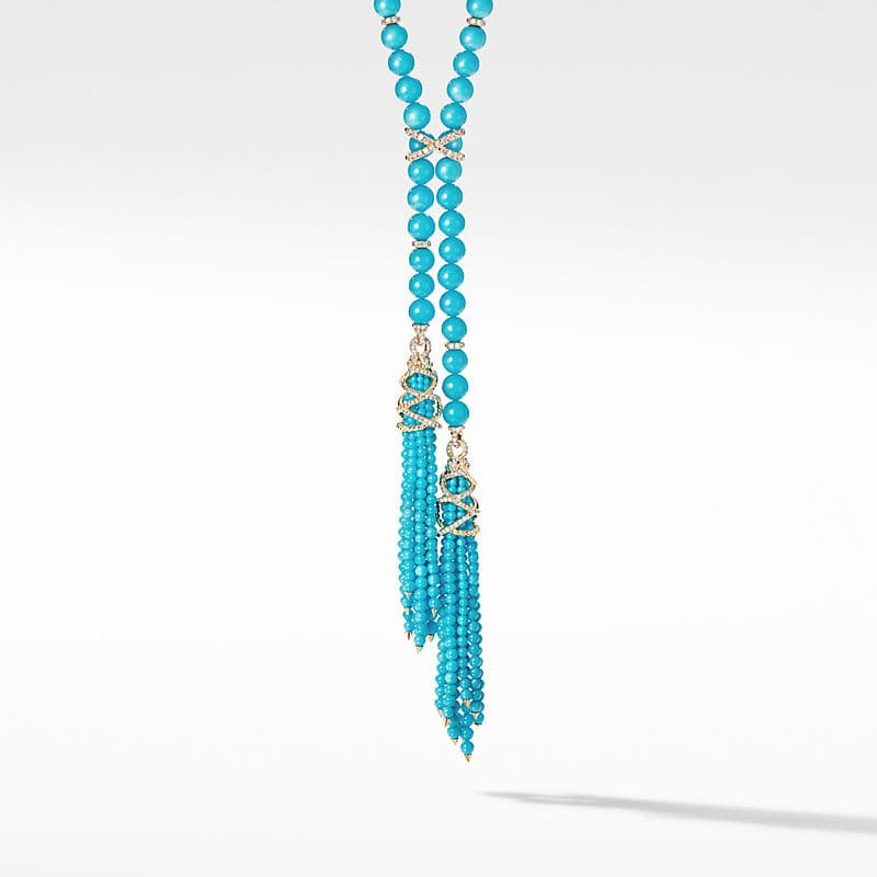Helena Tassel Necklace with 18K Yellow Gold and Diamonds