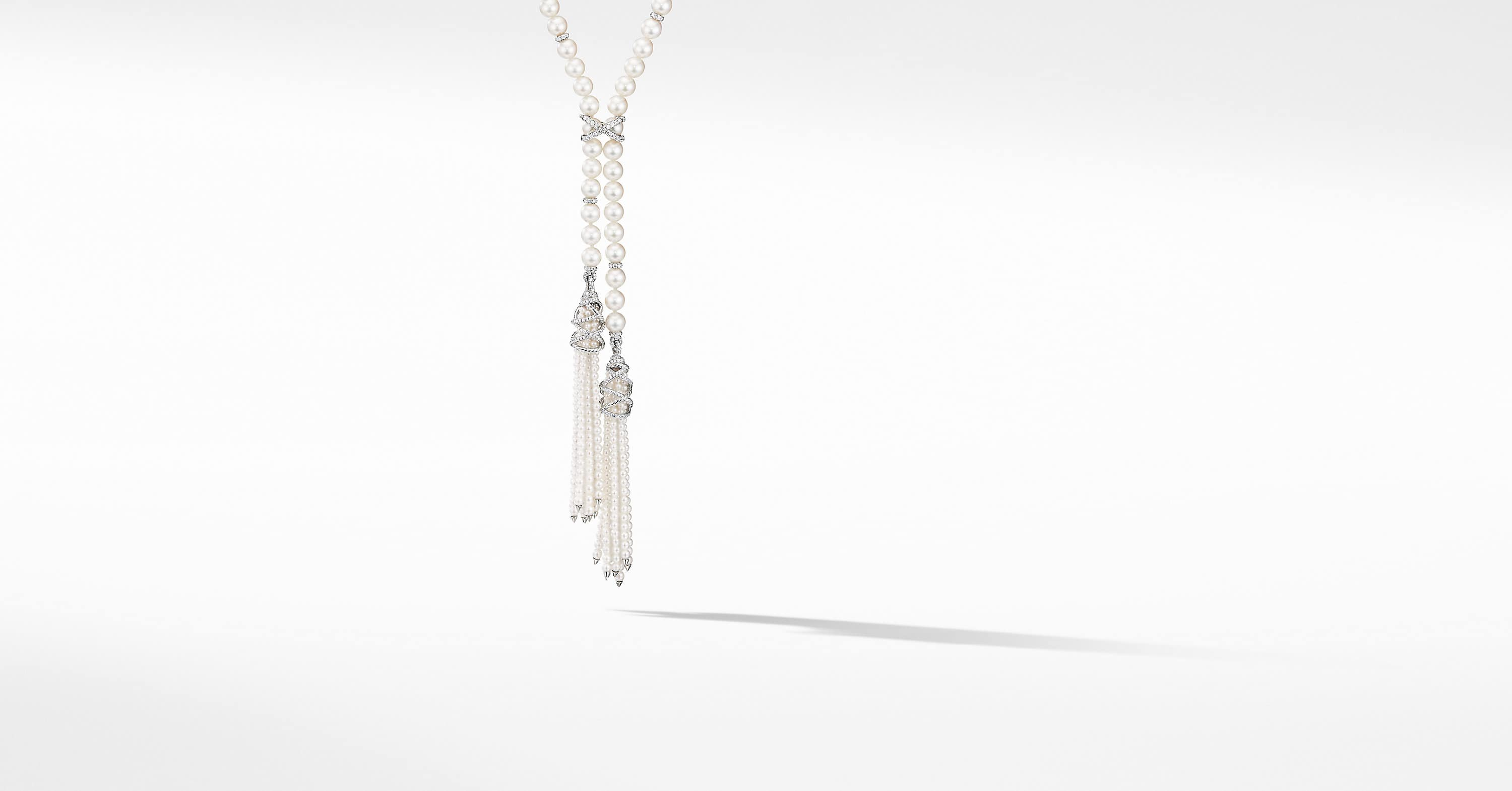 Fine Pearl Tassel Necklace in 18K White Gold with Diamonds