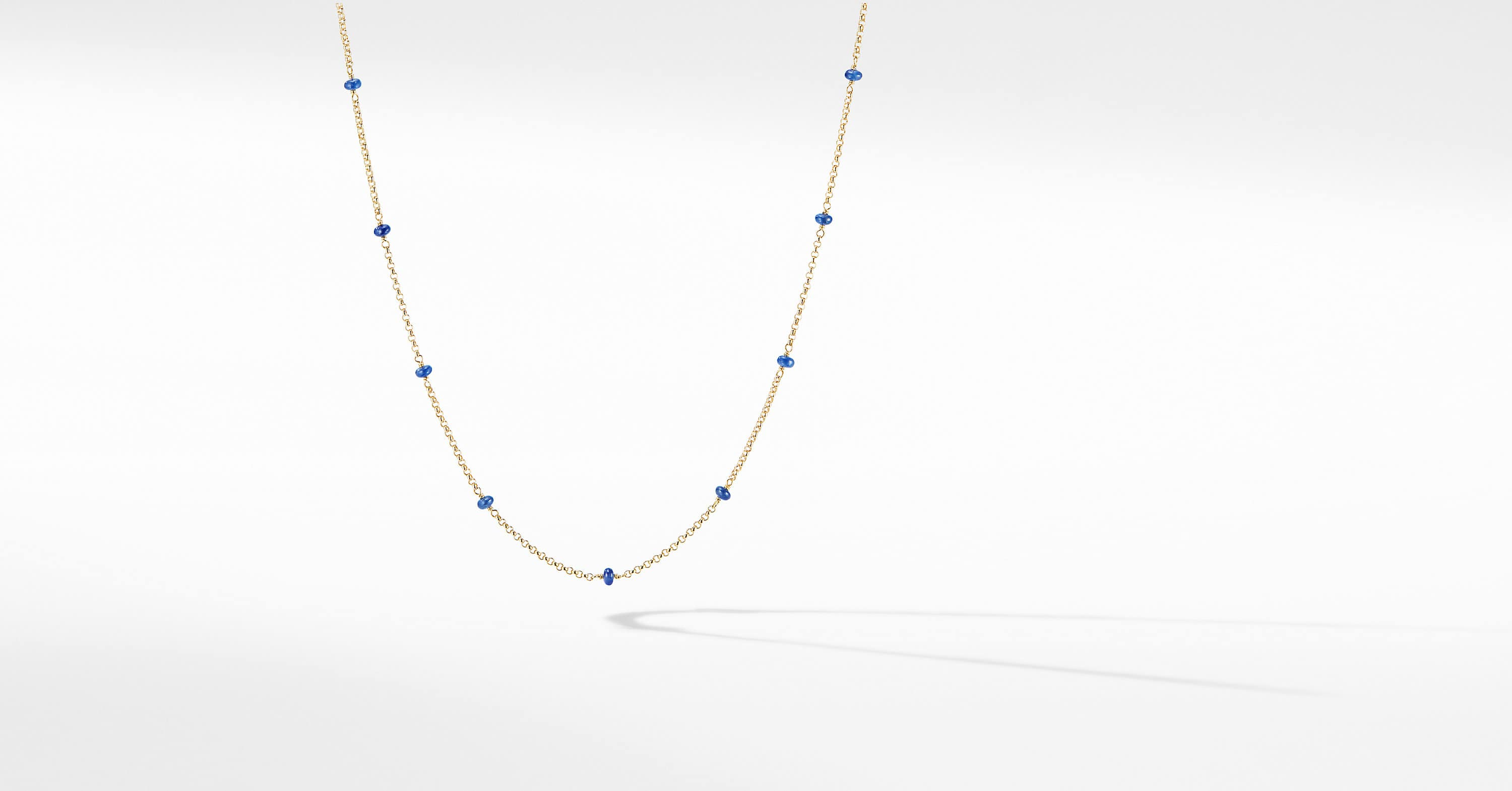Cable Collectibles Bead and Chain Necklace in 18K Yellow Gold