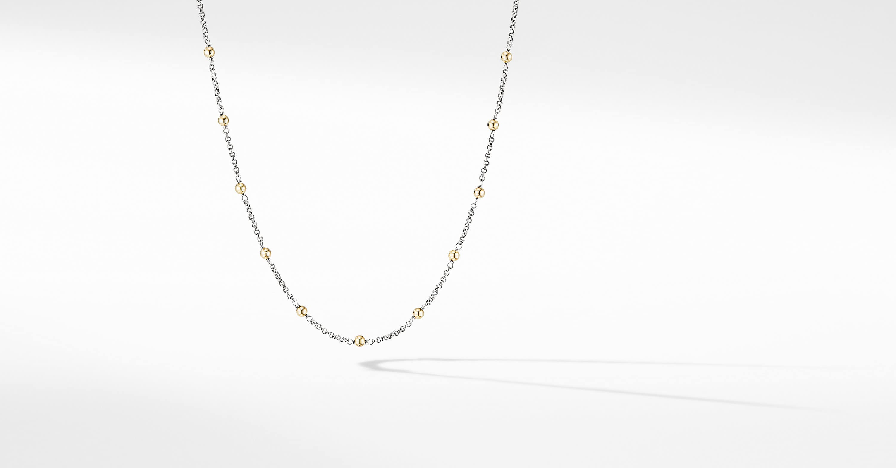 Cable Collectibles Bead and Chain Necklace with 18K Yellow Gold