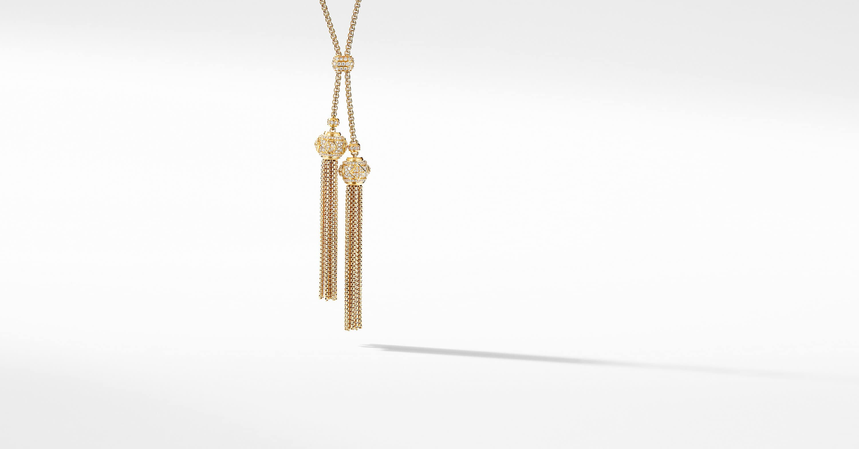 Renaissance Tassel Necklace in 18K Yellow Gold with Full Pavé