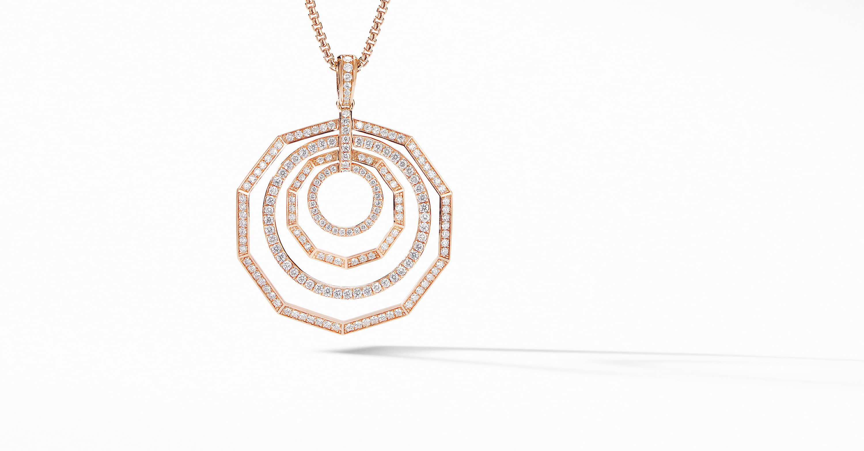 Stax Pendant Necklace in 18K Rose Gold with Full Pavé