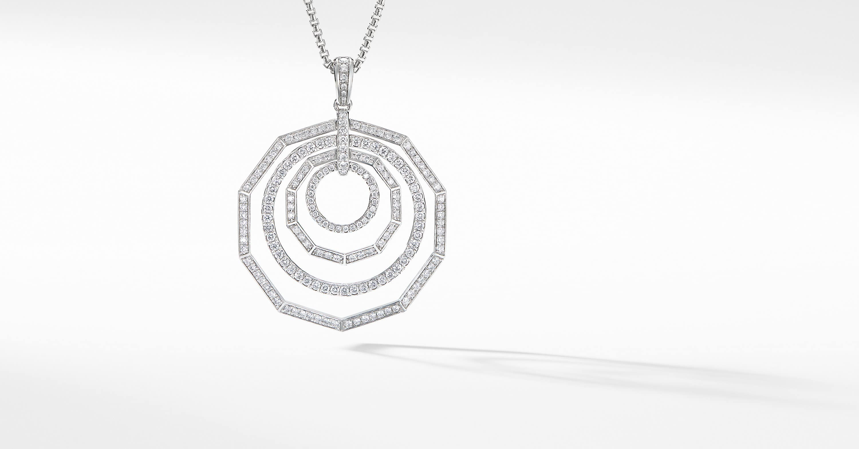Stax Full Pavé Pendant Necklace in 18K White Gold