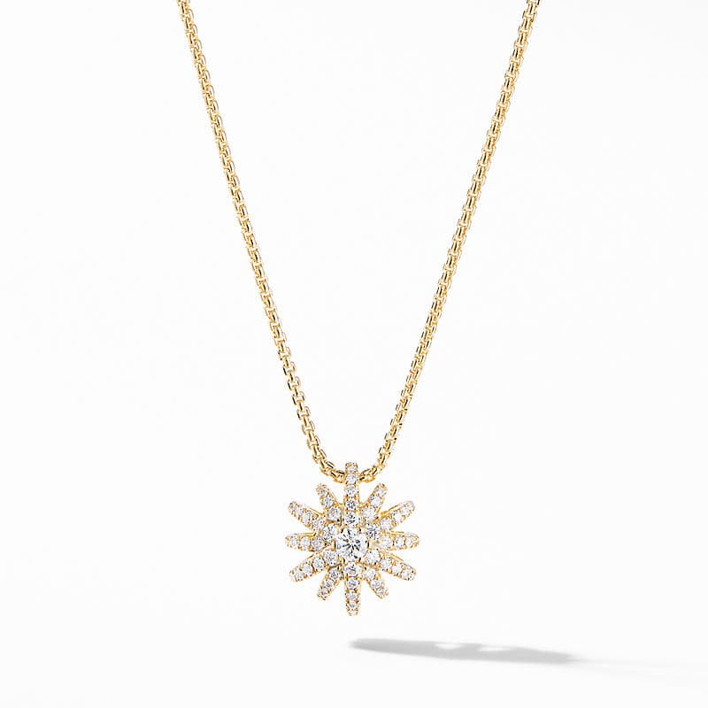 Starburst Pendant Necklace in 18K Yellow Gold with Pavé