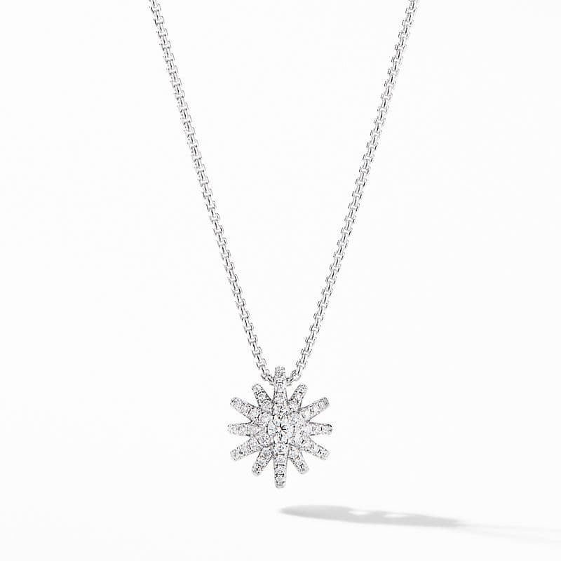 Starburst Pendant Necklace in 18K White Gold with Pavé