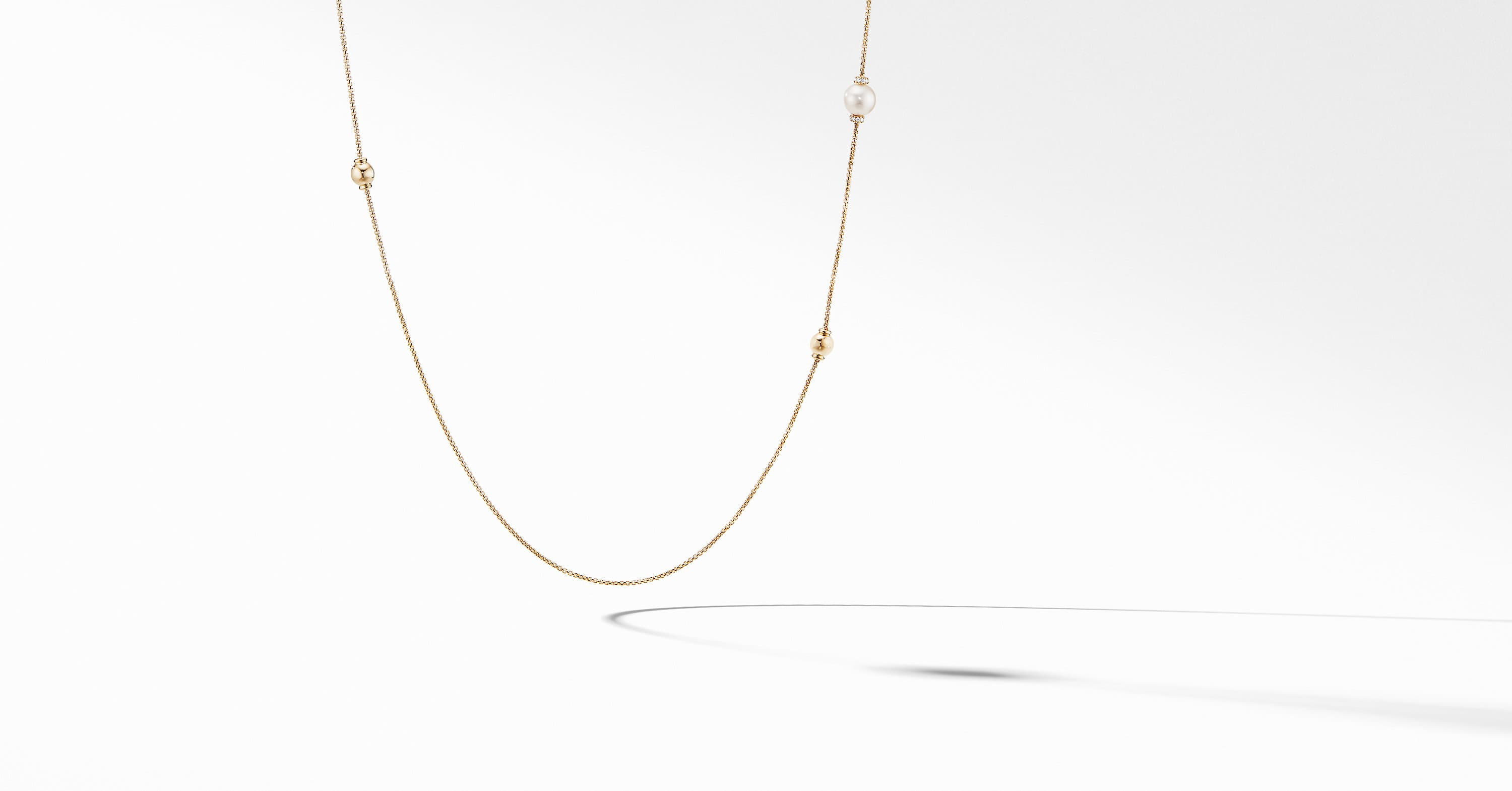 Solari Station Necklace in 18K Yellow Gold with Diamonds