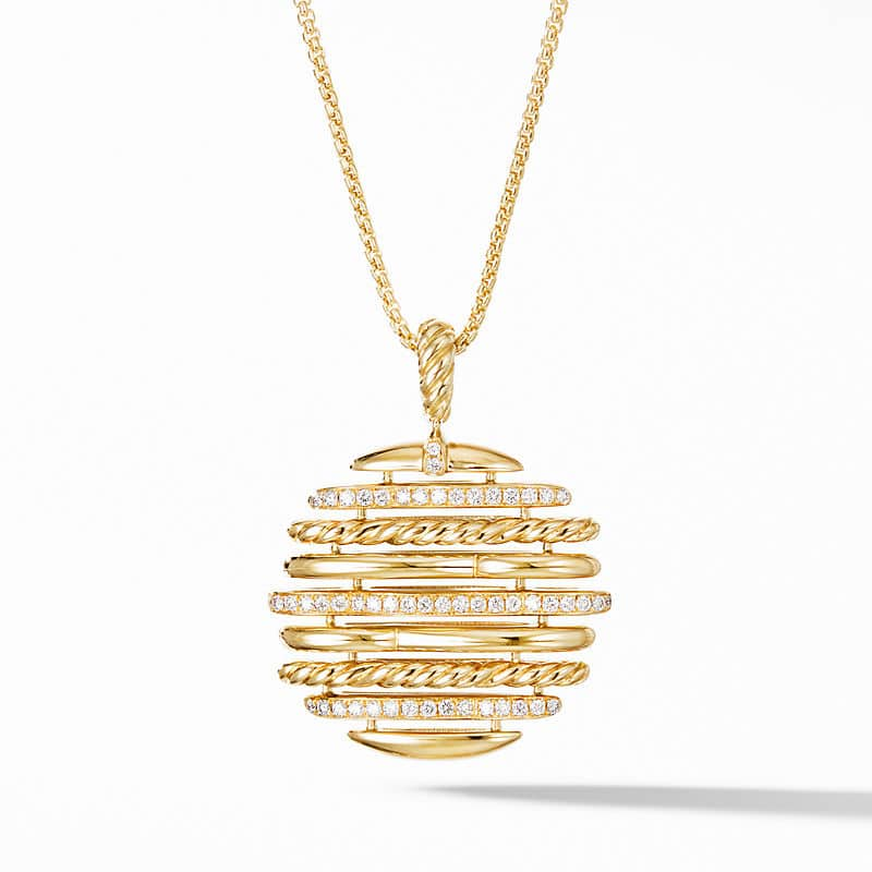 Tides Pendant Necklace in 18K Yellow Gold with Diamonds, 21mm