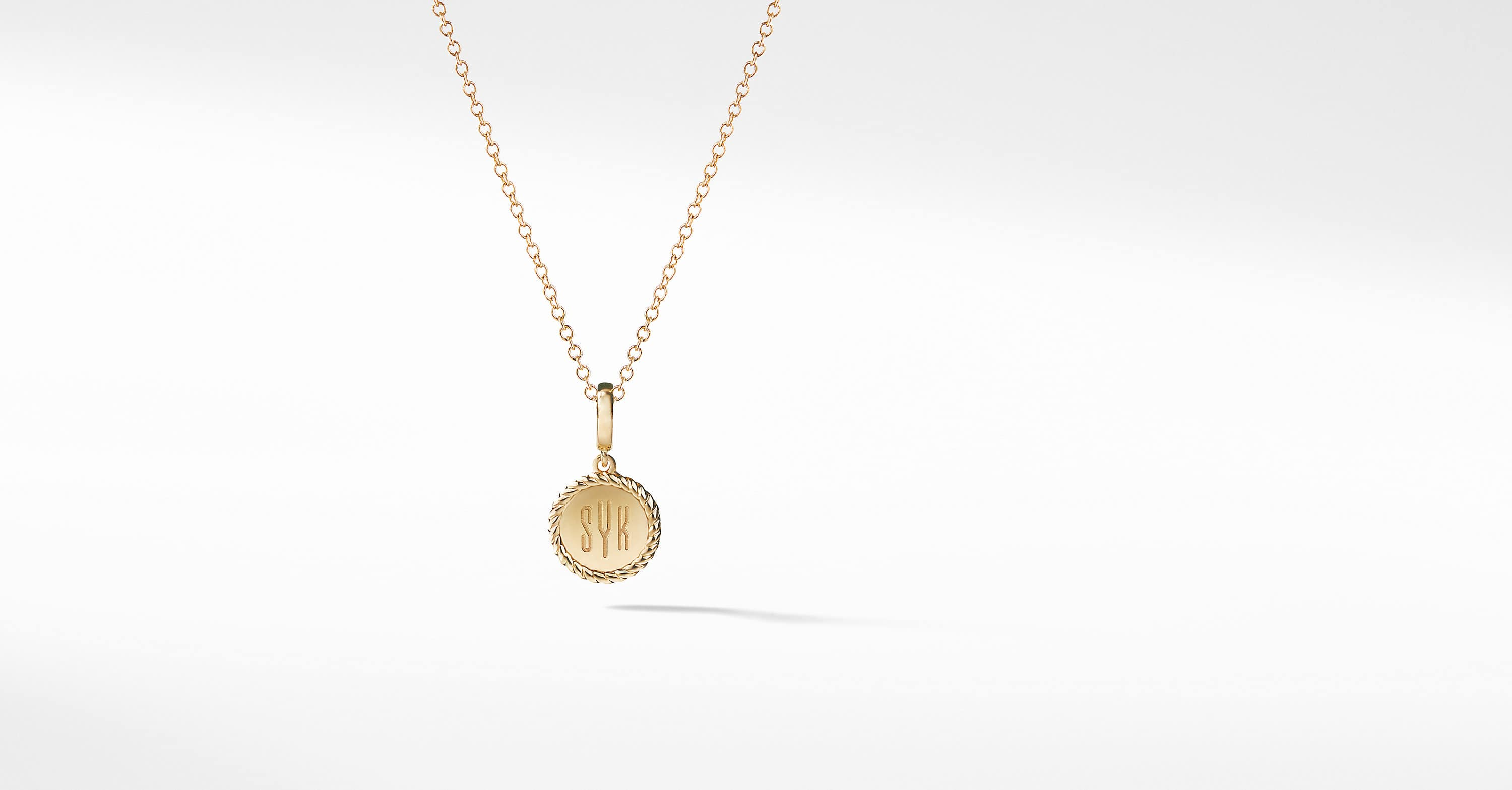 Cable Collectibles Engravable Pendant Necklace in 18K Yellow Gold