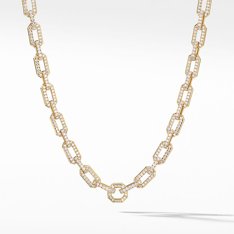 Chain Necklace in 18K Yellow Gold with Full Pavé