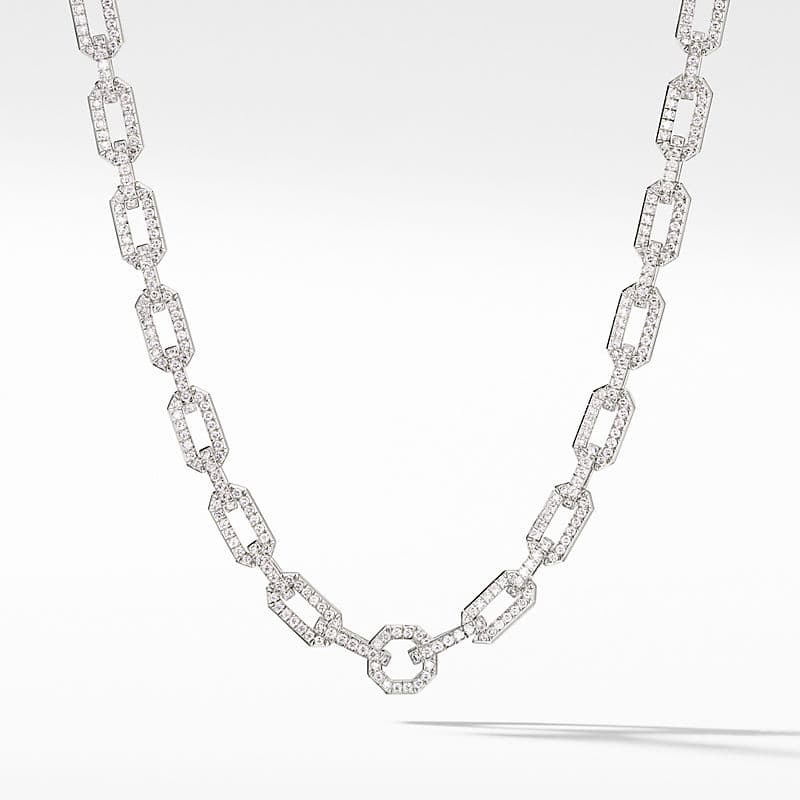 Chain Necklace in 18K White Gold with Full Pavé