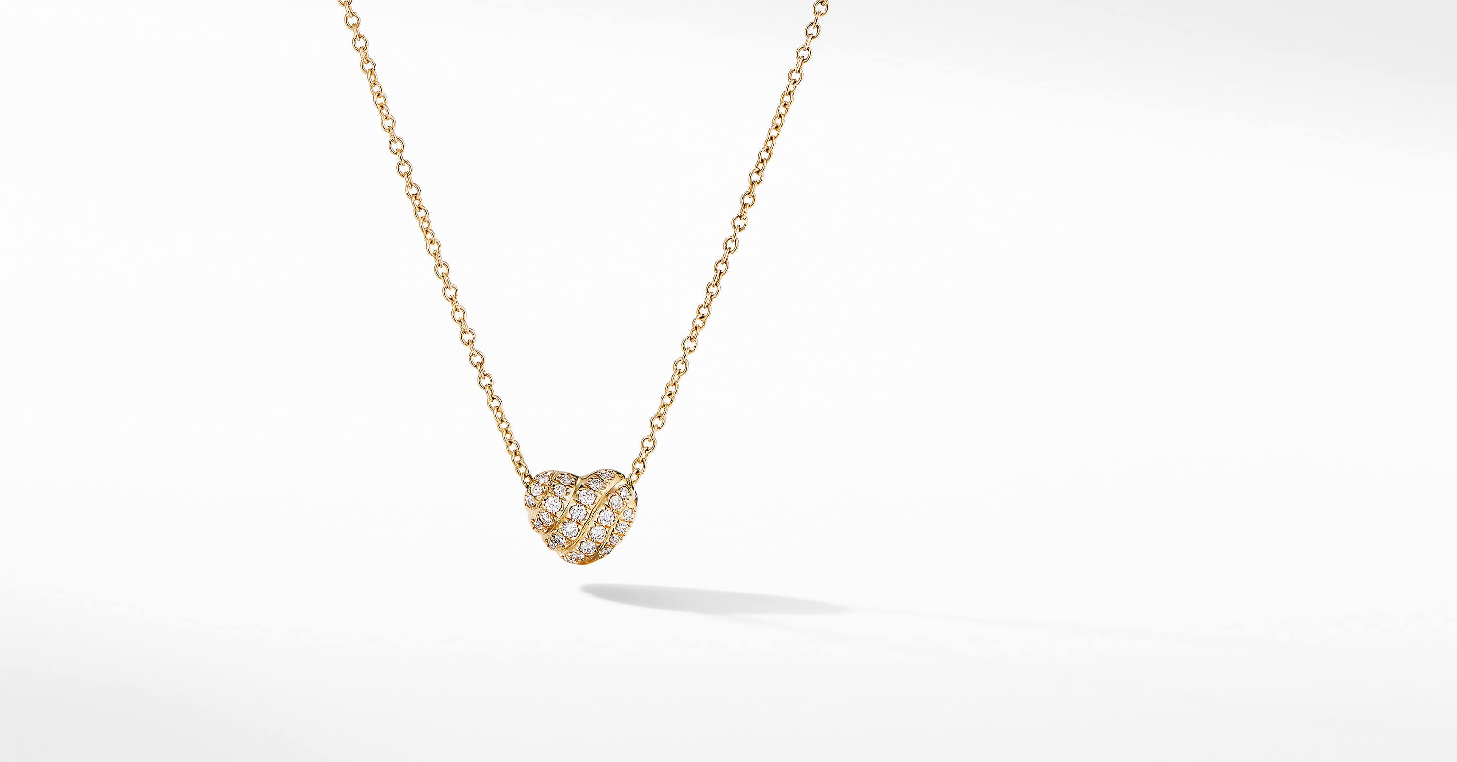Heart Pendant Necklace in 18K Yellow Gold with Pavé