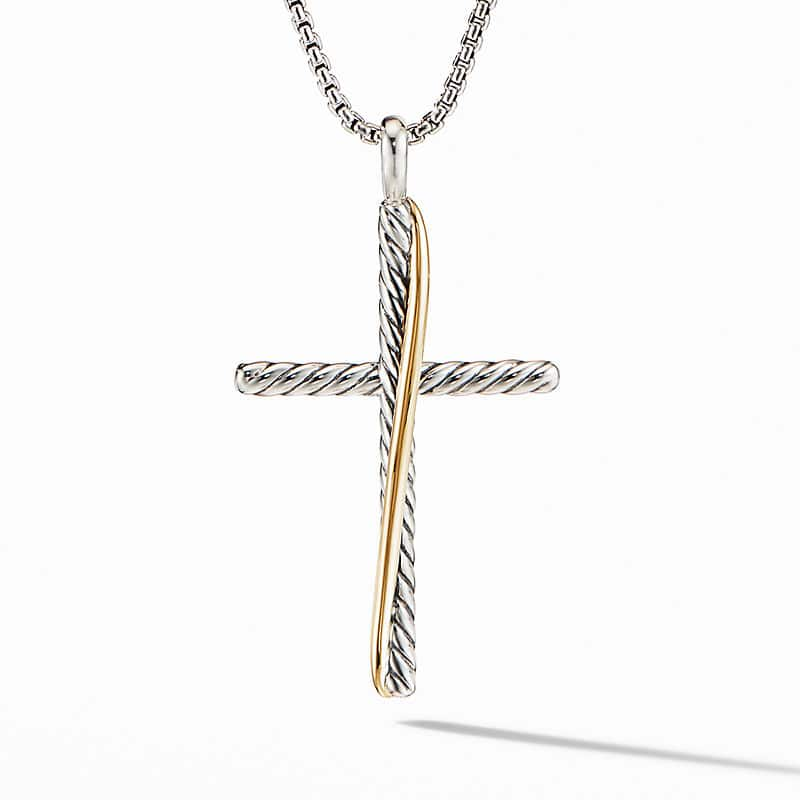 The Crossover Collection XL Cross Necklace with 18K Yellow Gold