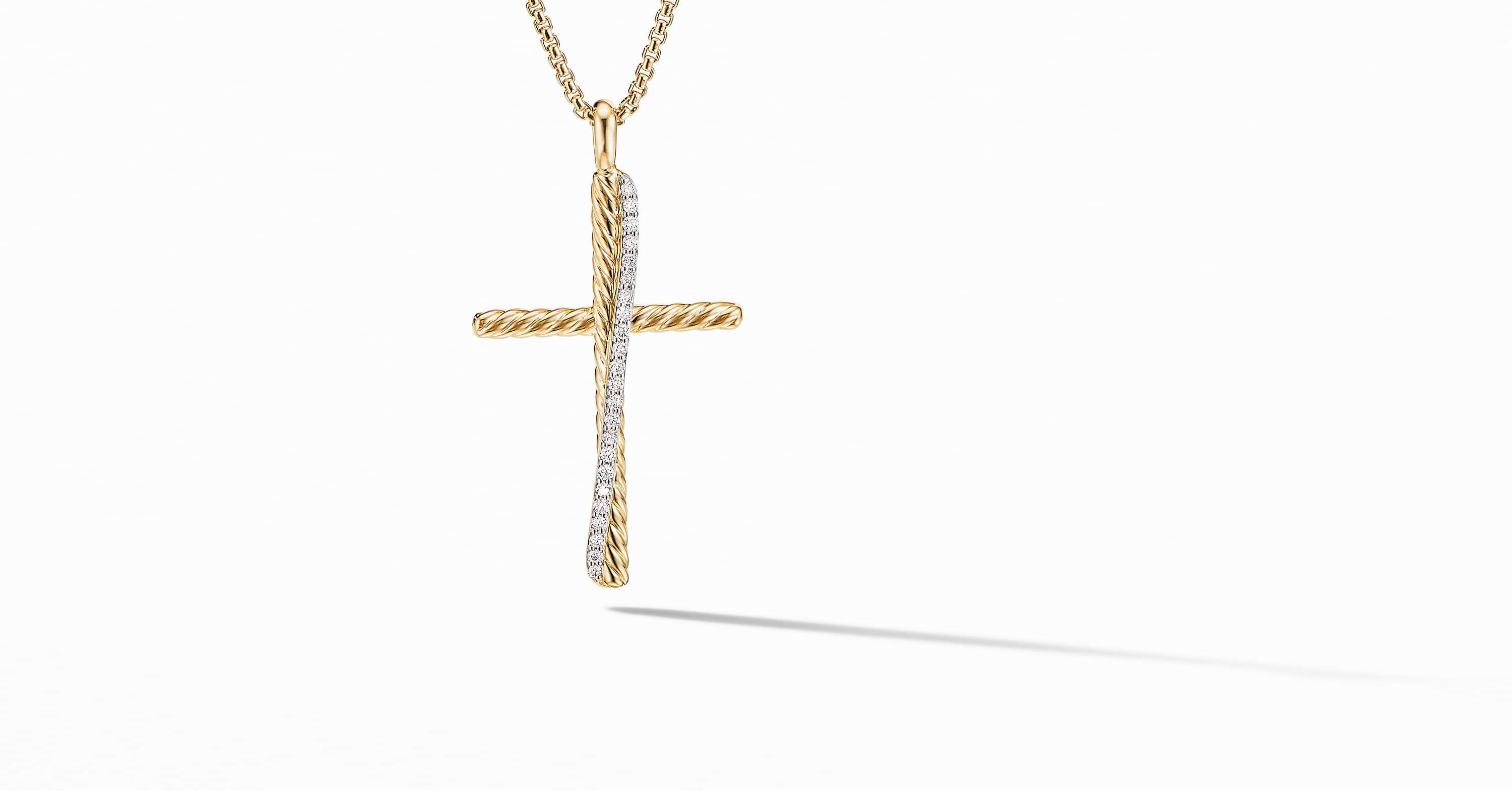 Crossover XL Cross Necklace in 18K Yellow Gold with Diamonds