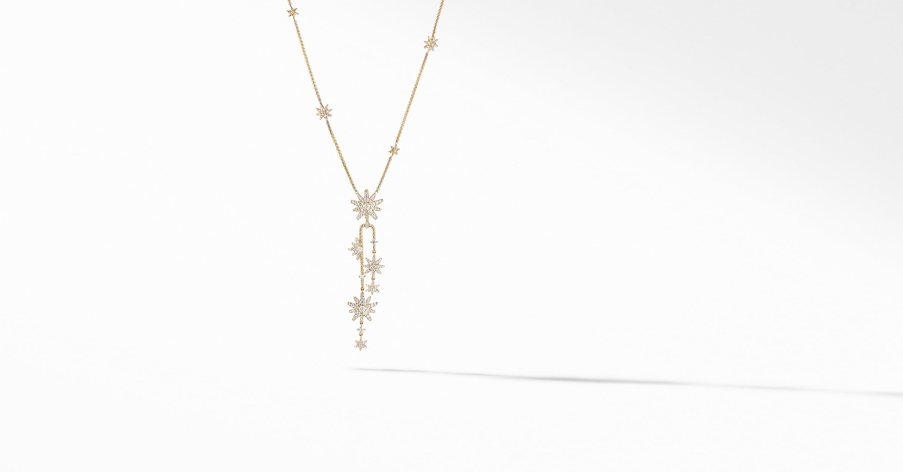 Starburst Cluster Necklace in 18K Yellow Gold with Pavé