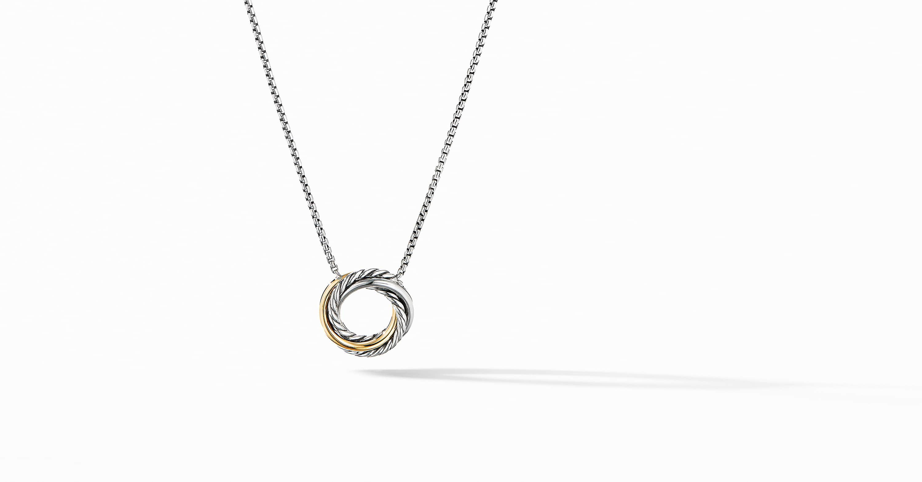 The Crossover Collection Mini Pendant Necklace with 18K Yellow Gold