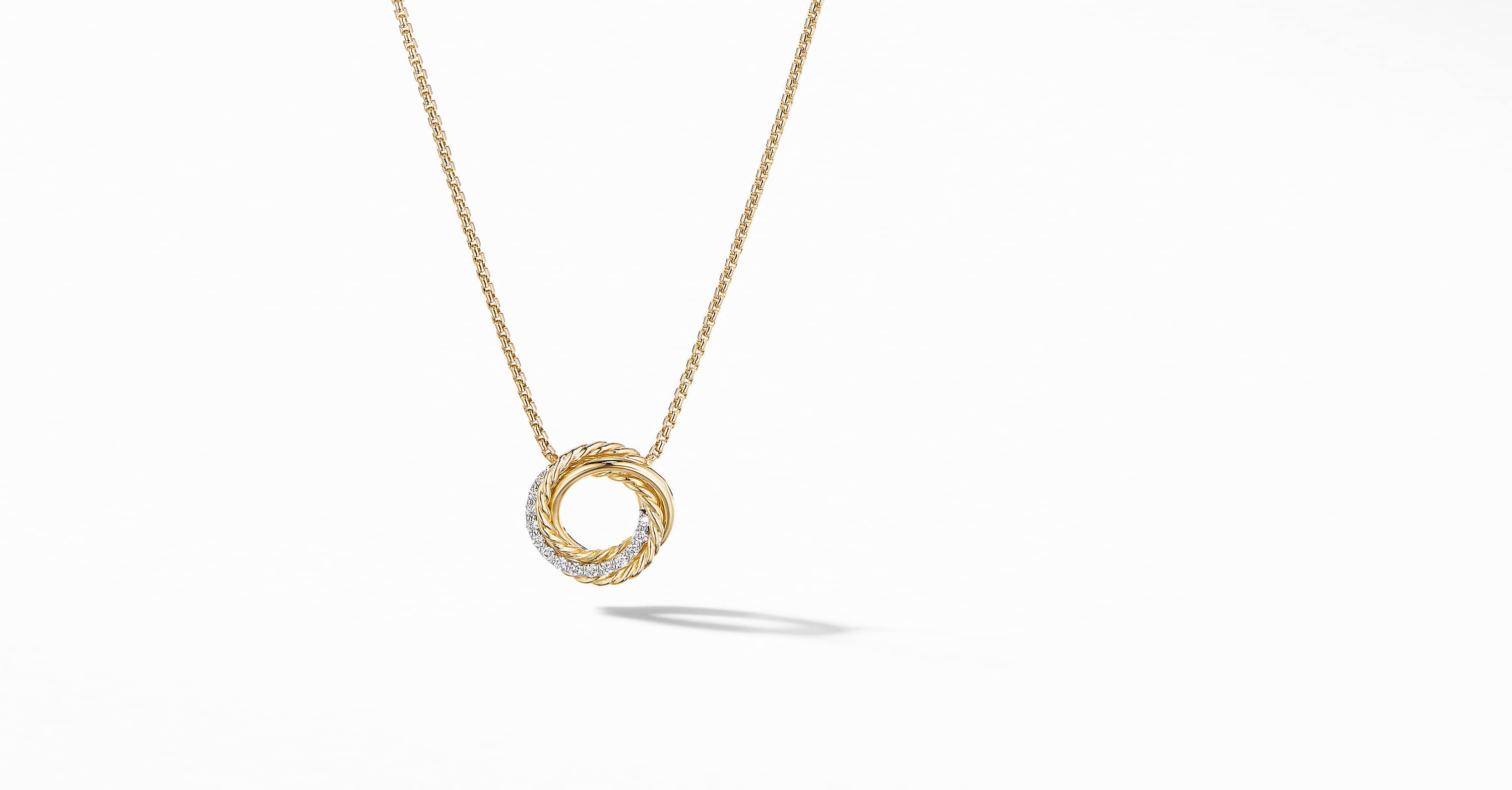 The Crossover Collection Mini Pendant Necklace in 18K Yellow Gold with Diamonds