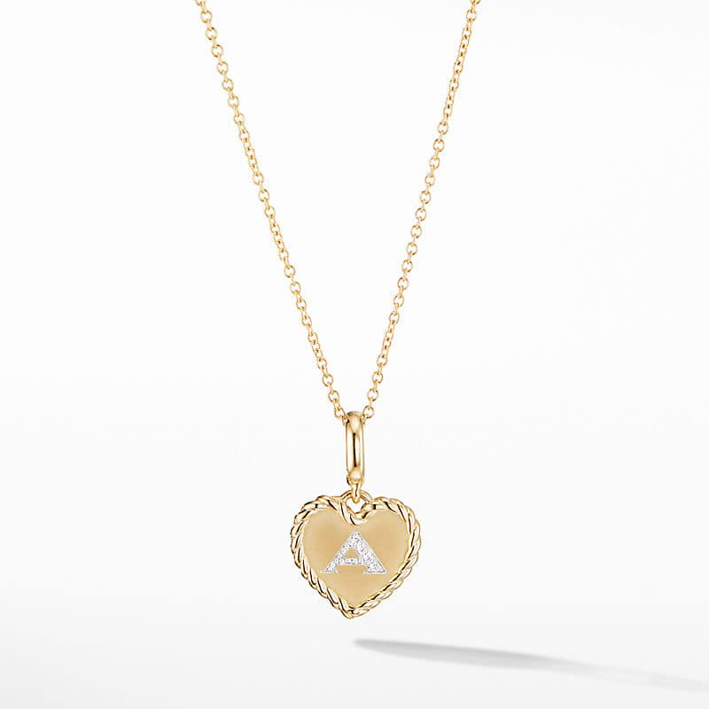 Initial Heart Charm Necklace in 18K Yellow Gold with Diamonds