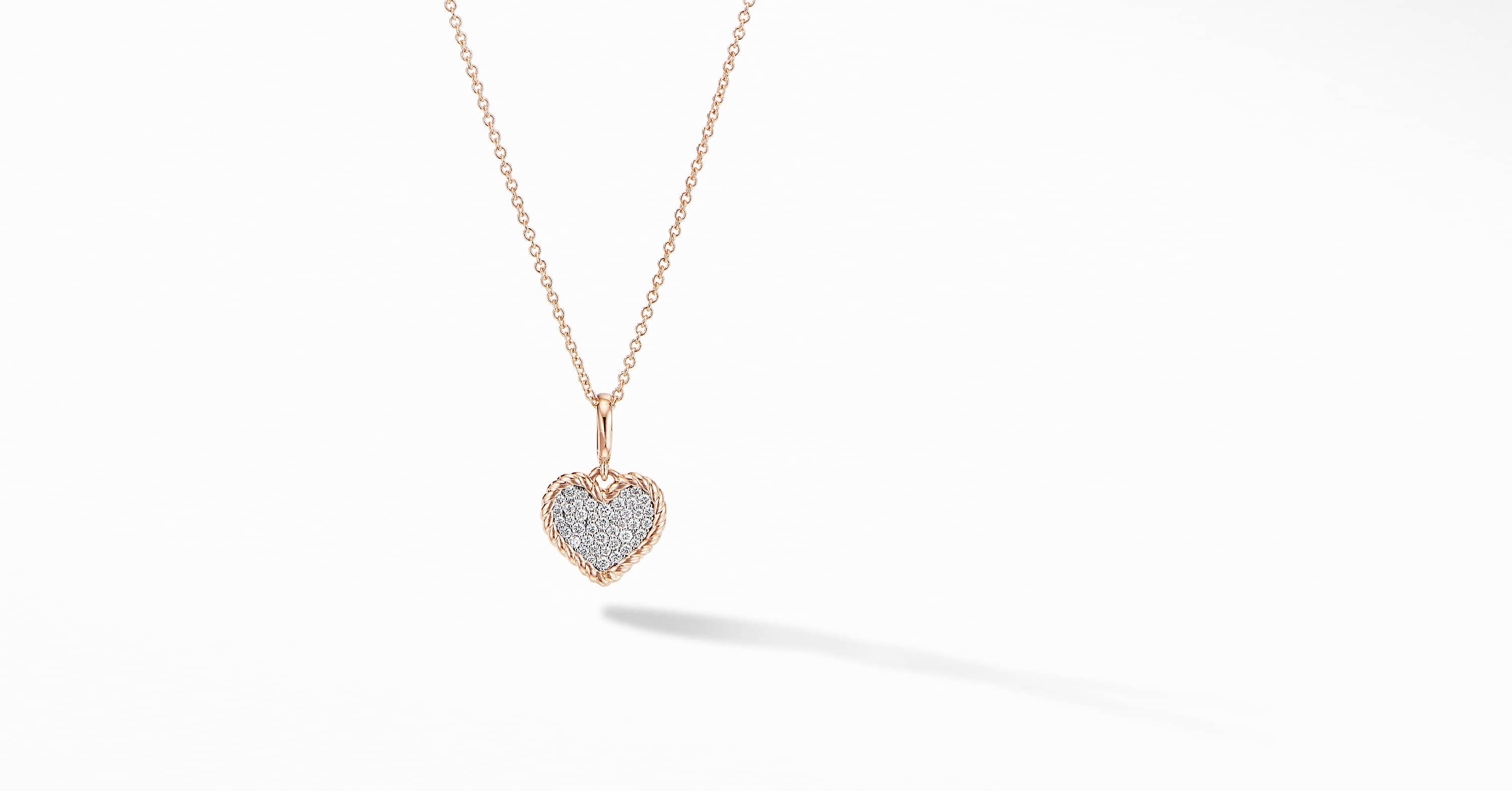 Cable Collectibles Pavé Plate Heart Charm Necklace in 18K Rose Gold