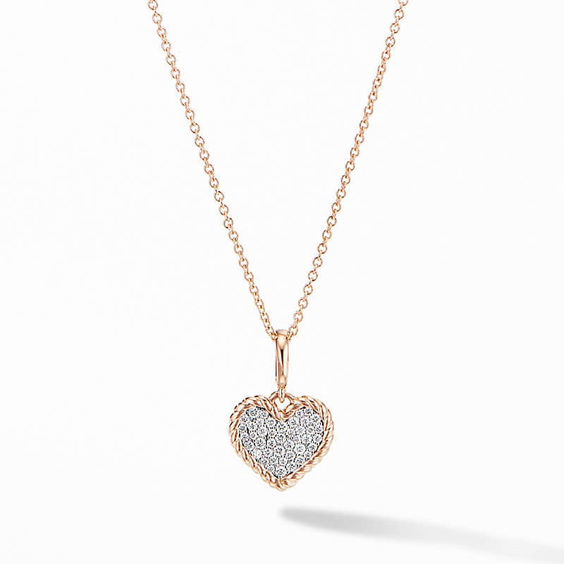 Cable Collectibles® Pavé Plate Heart Charm Necklace in